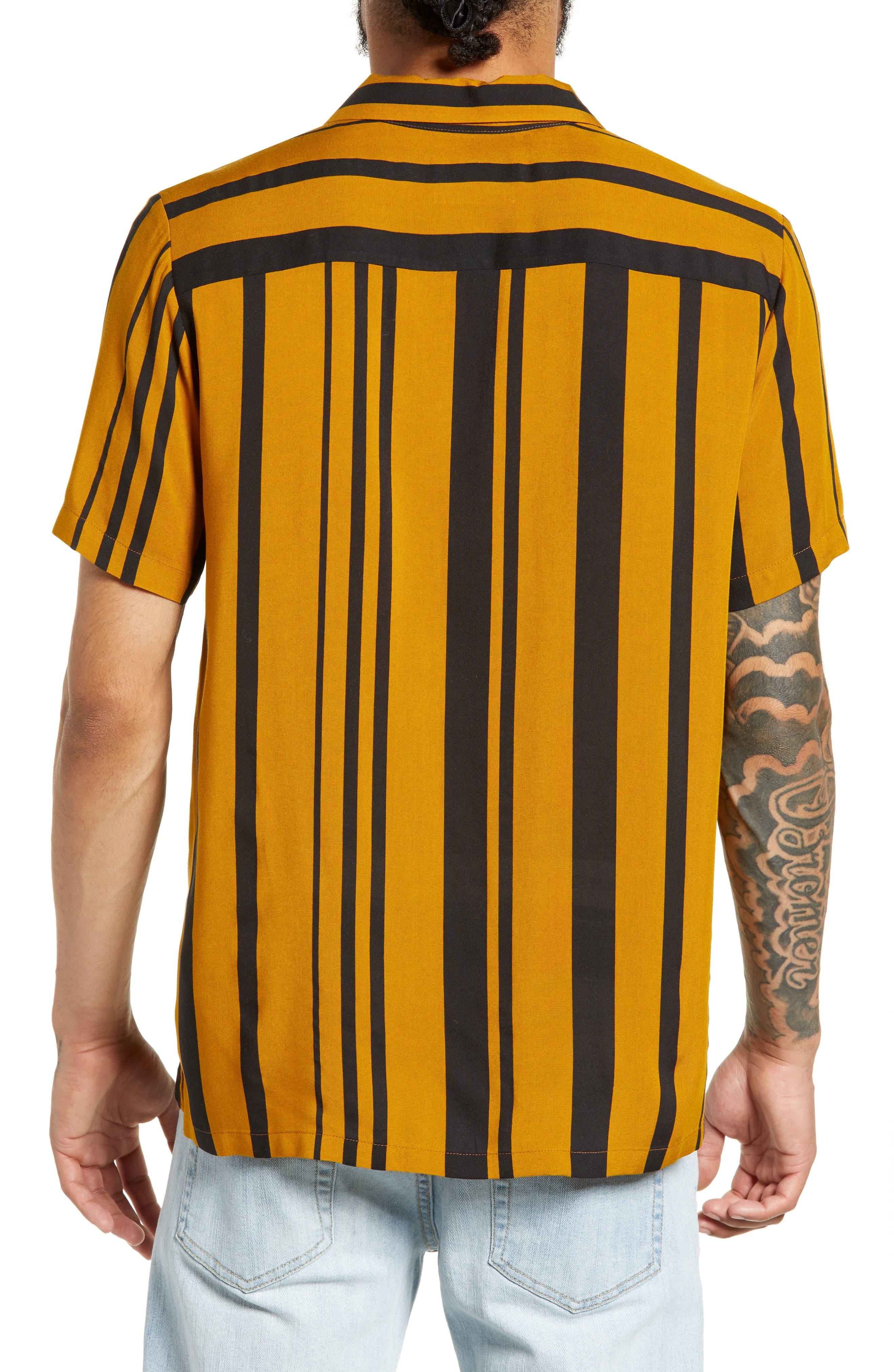 Stripe Classic Fit Shirt,                             Alternate thumbnail 3, color,                             YELLOW MULTI