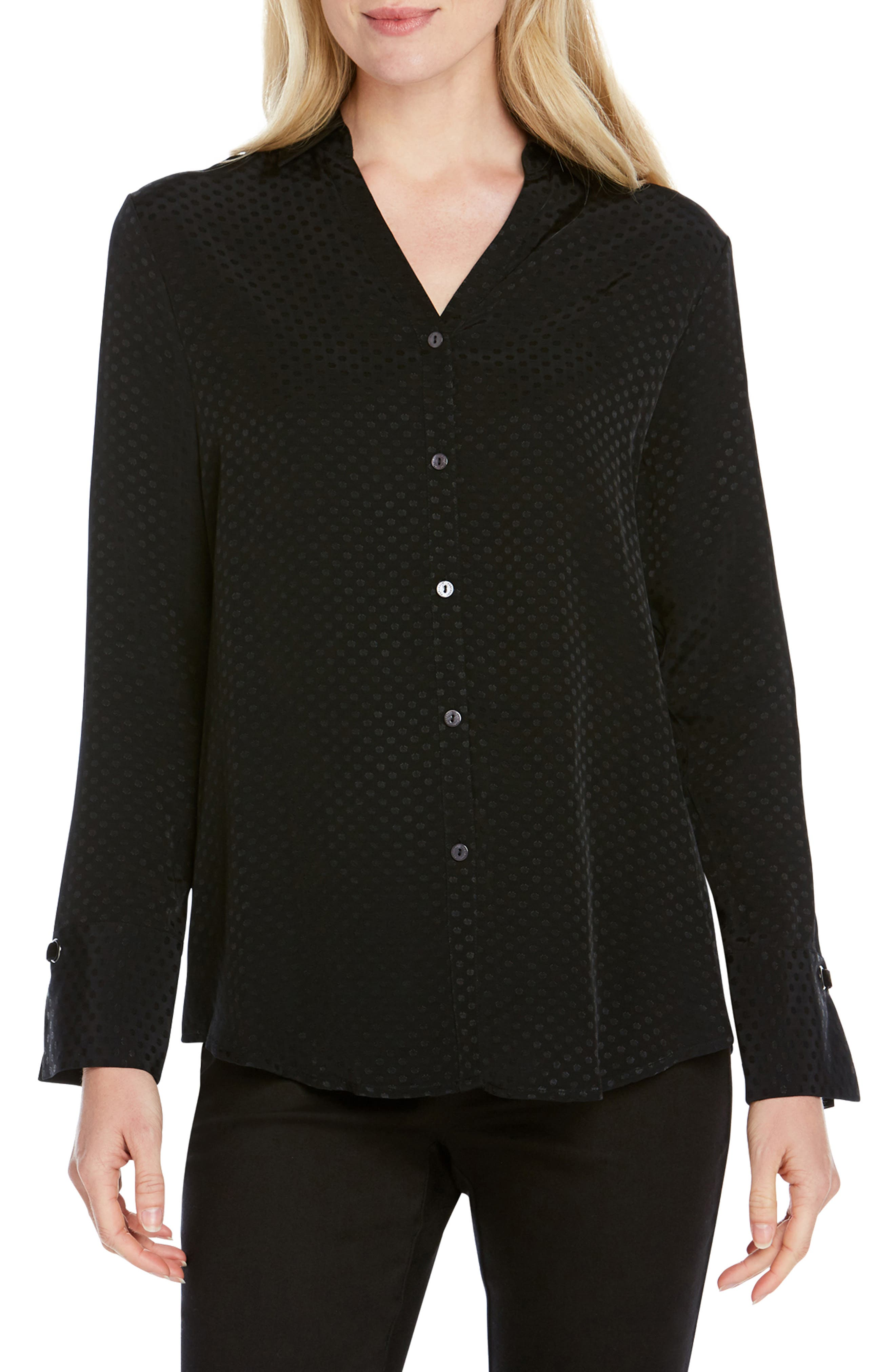 FOXCROFT Lilian Dotted Jacquard Blouse in Black
