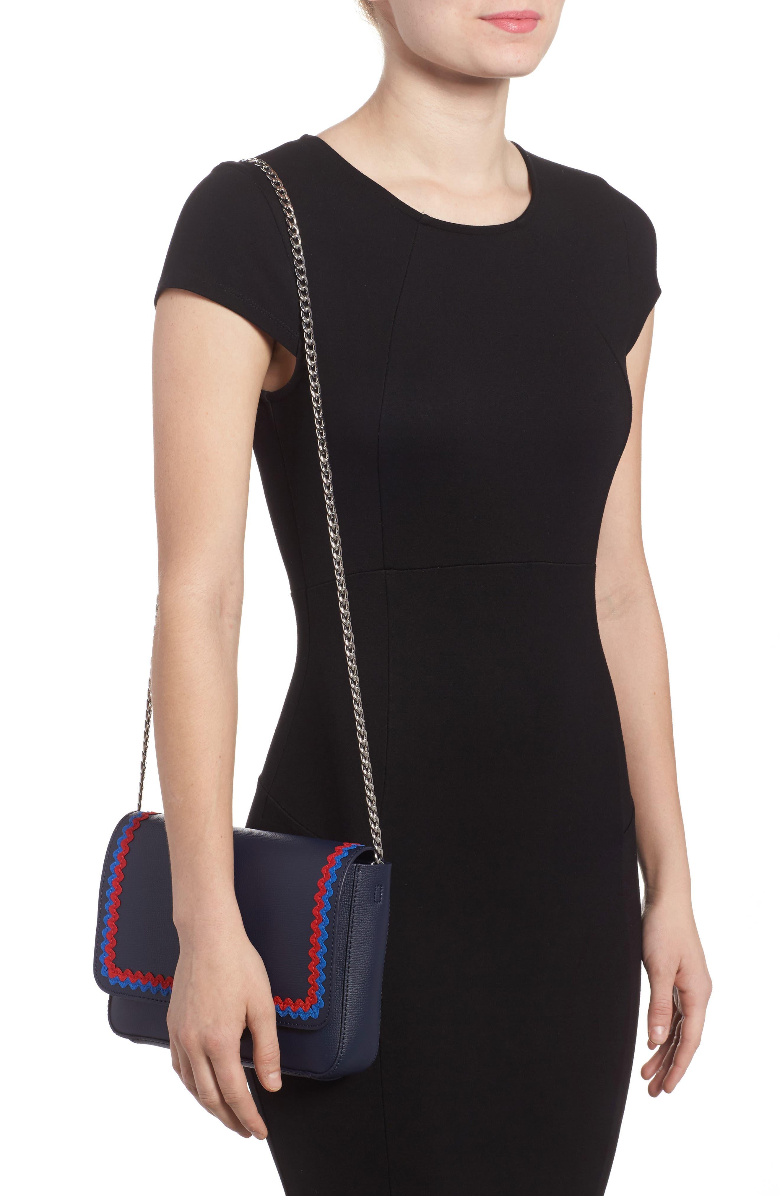 Lock Leather Flap Clutch/Shoulder Bag,                             Alternate thumbnail 2, color,