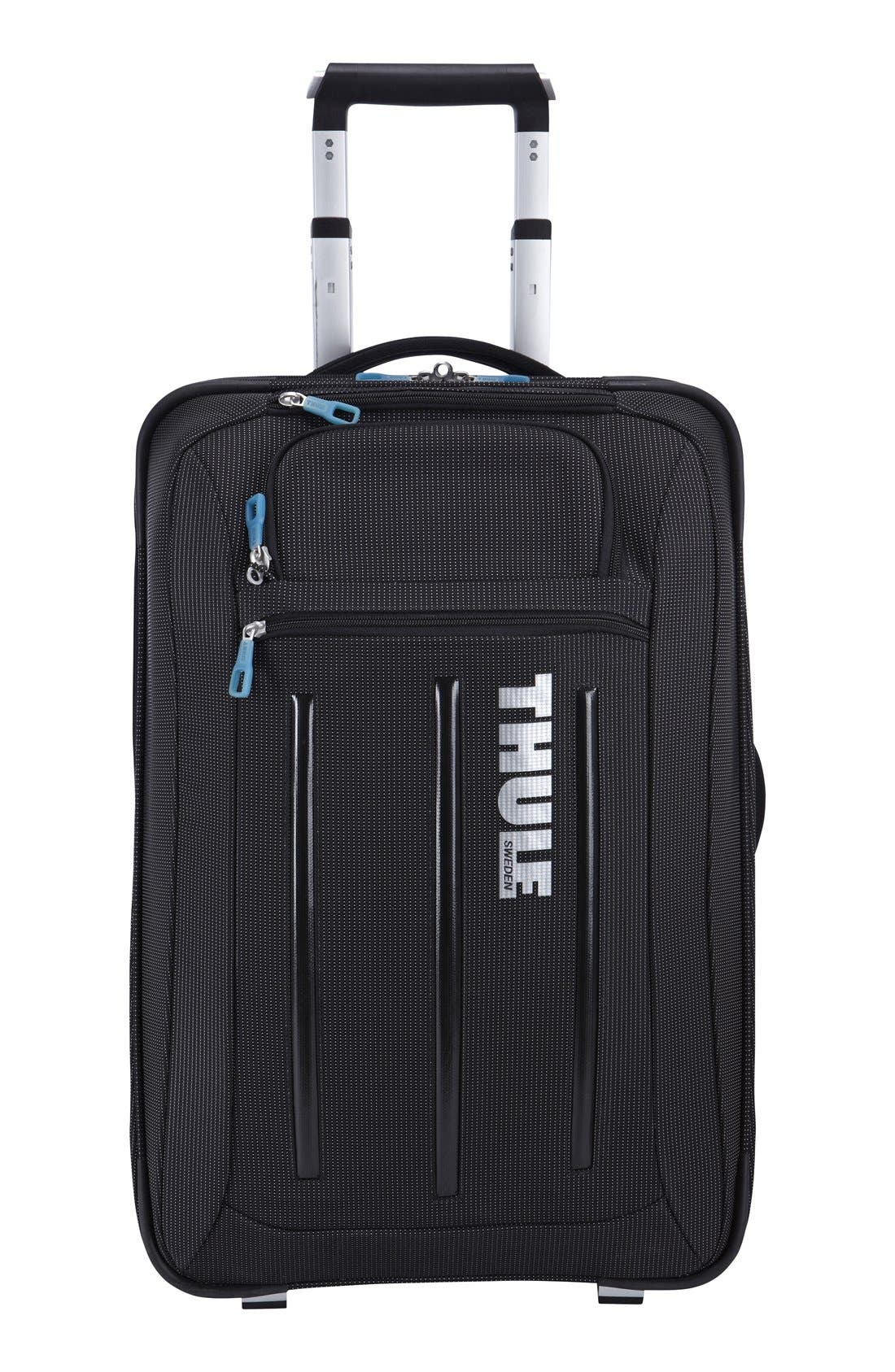 Crossover Rolling 23-Inch Carry-On with Garment Bag,                             Alternate thumbnail 4, color,                             BLACK
