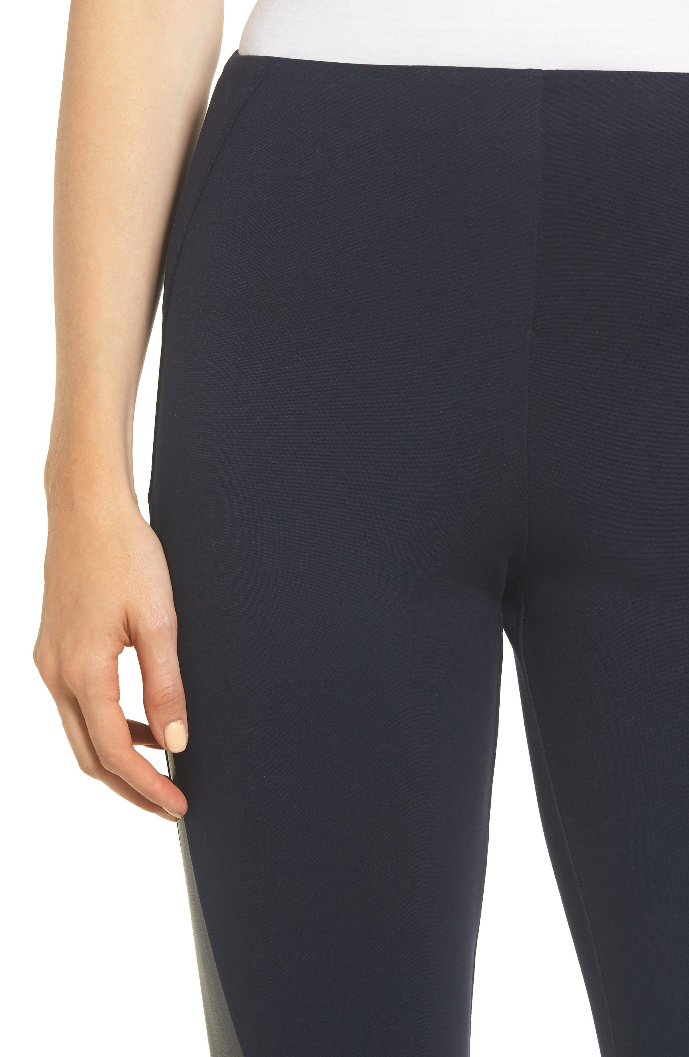 Gemma Faux-Leather Panel Ankle Leggings,                             Alternate thumbnail 4, color,                             MIDNIGHT