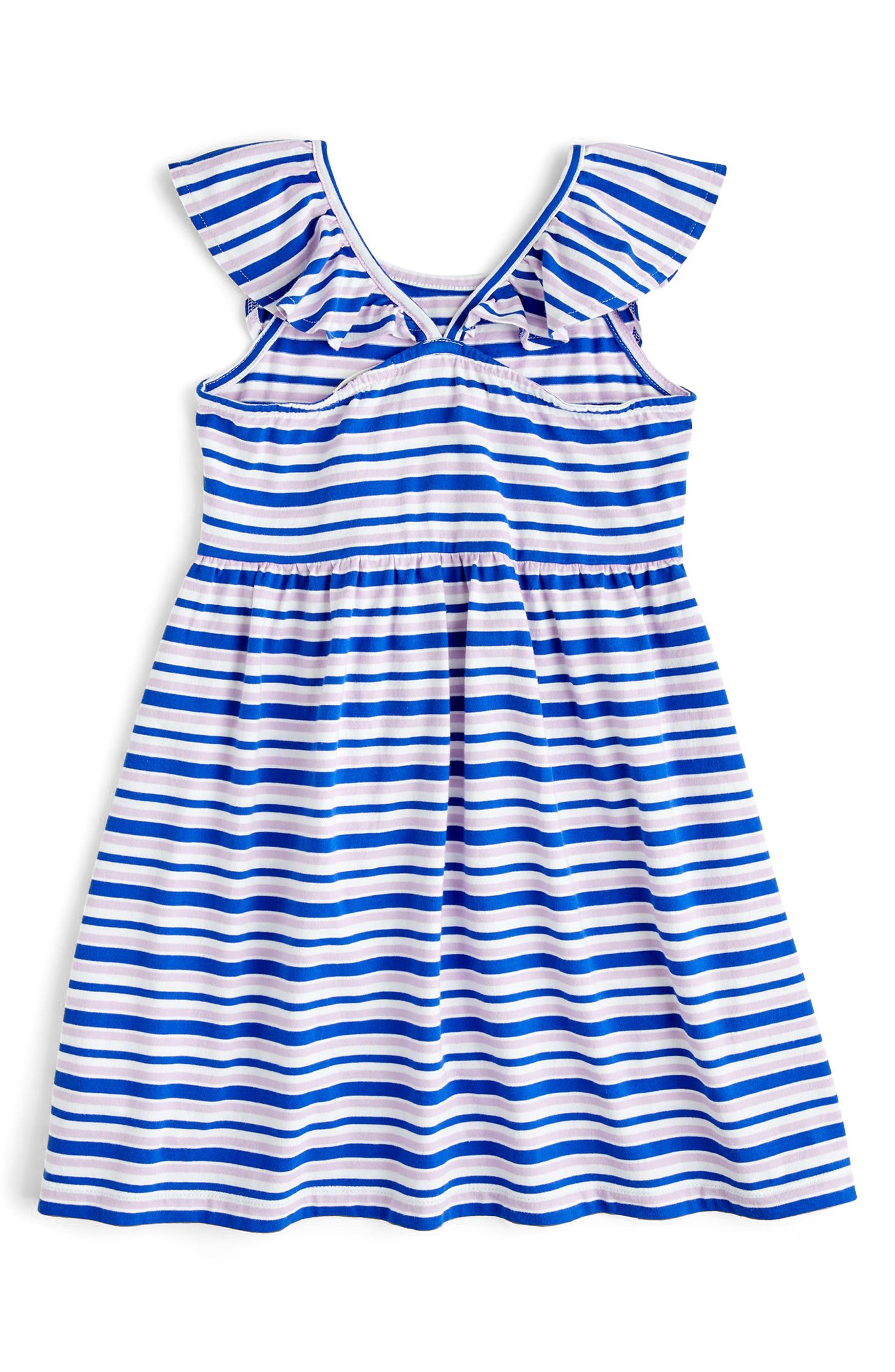 Stripe Flutter Sleeve Dress,                             Alternate thumbnail 2, color,                             400