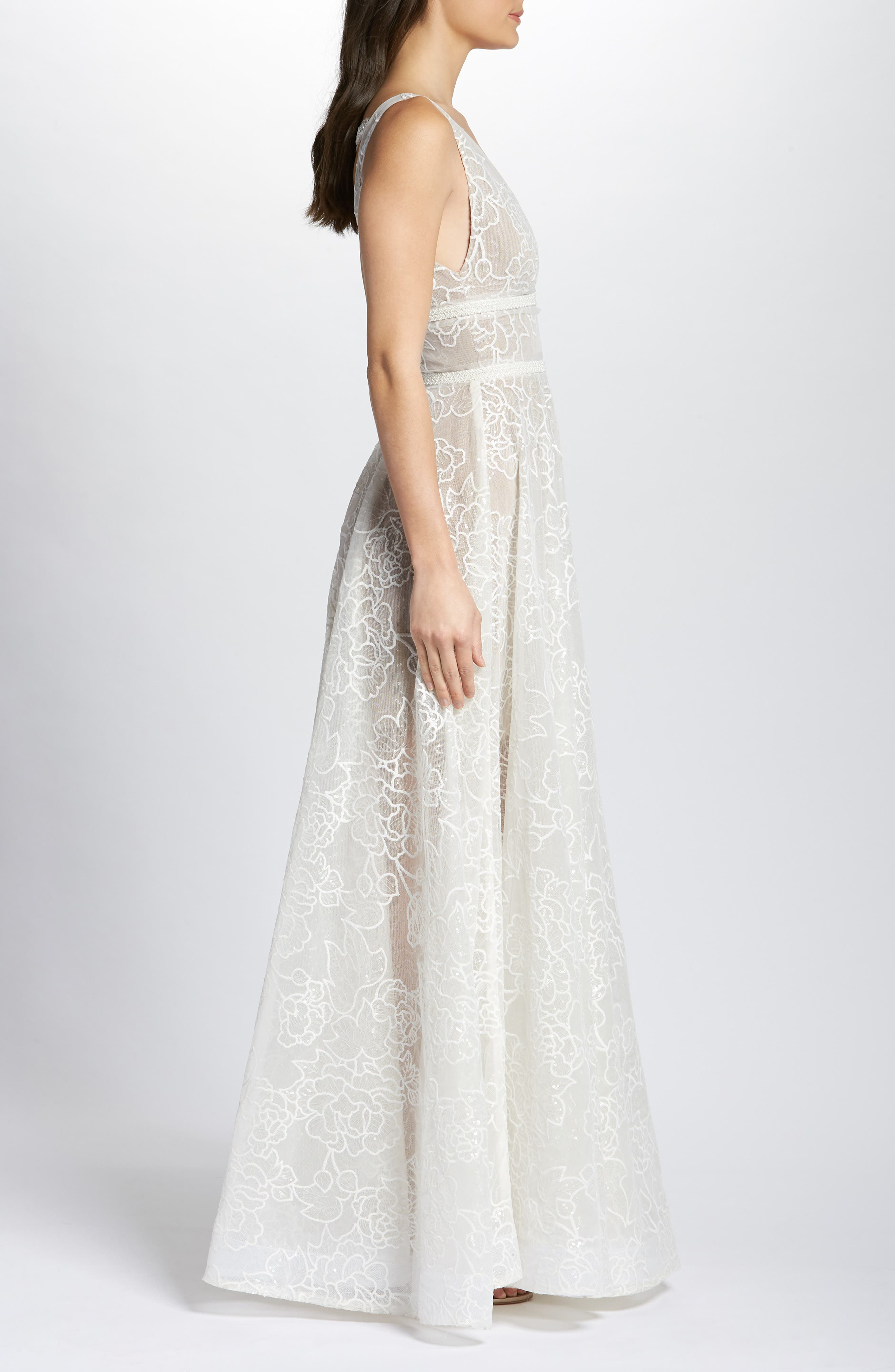 BRONX AND BANCO,                             Emily Floral Tulle A-Line Wedding Dress,                             Alternate thumbnail 3, color,                             900