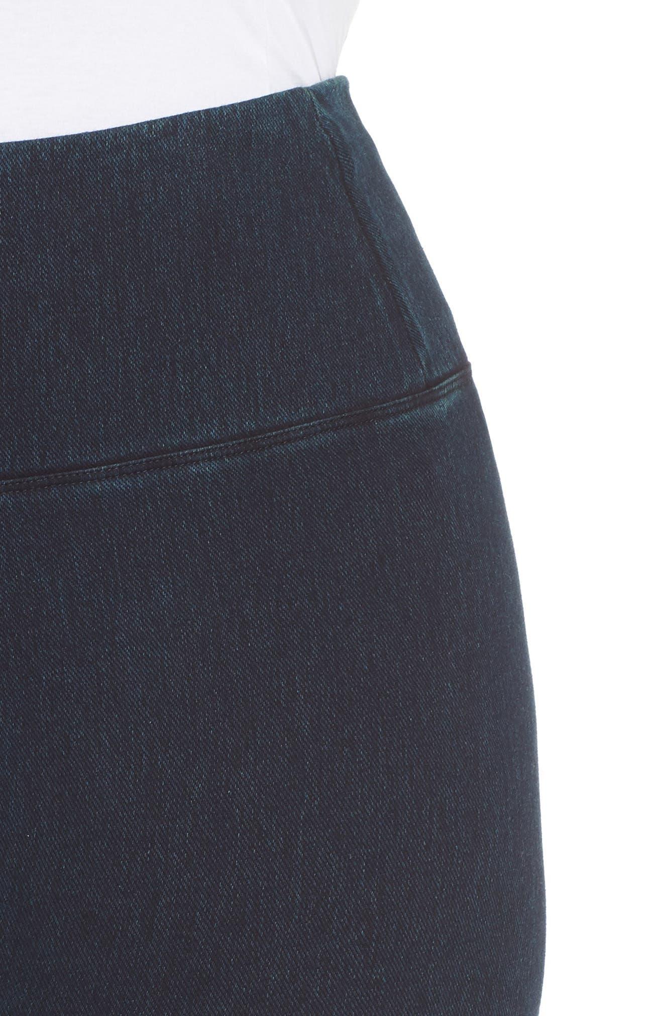 High Rise Stretch Denim Leggings,                             Alternate thumbnail 4, color,                             INDIGO