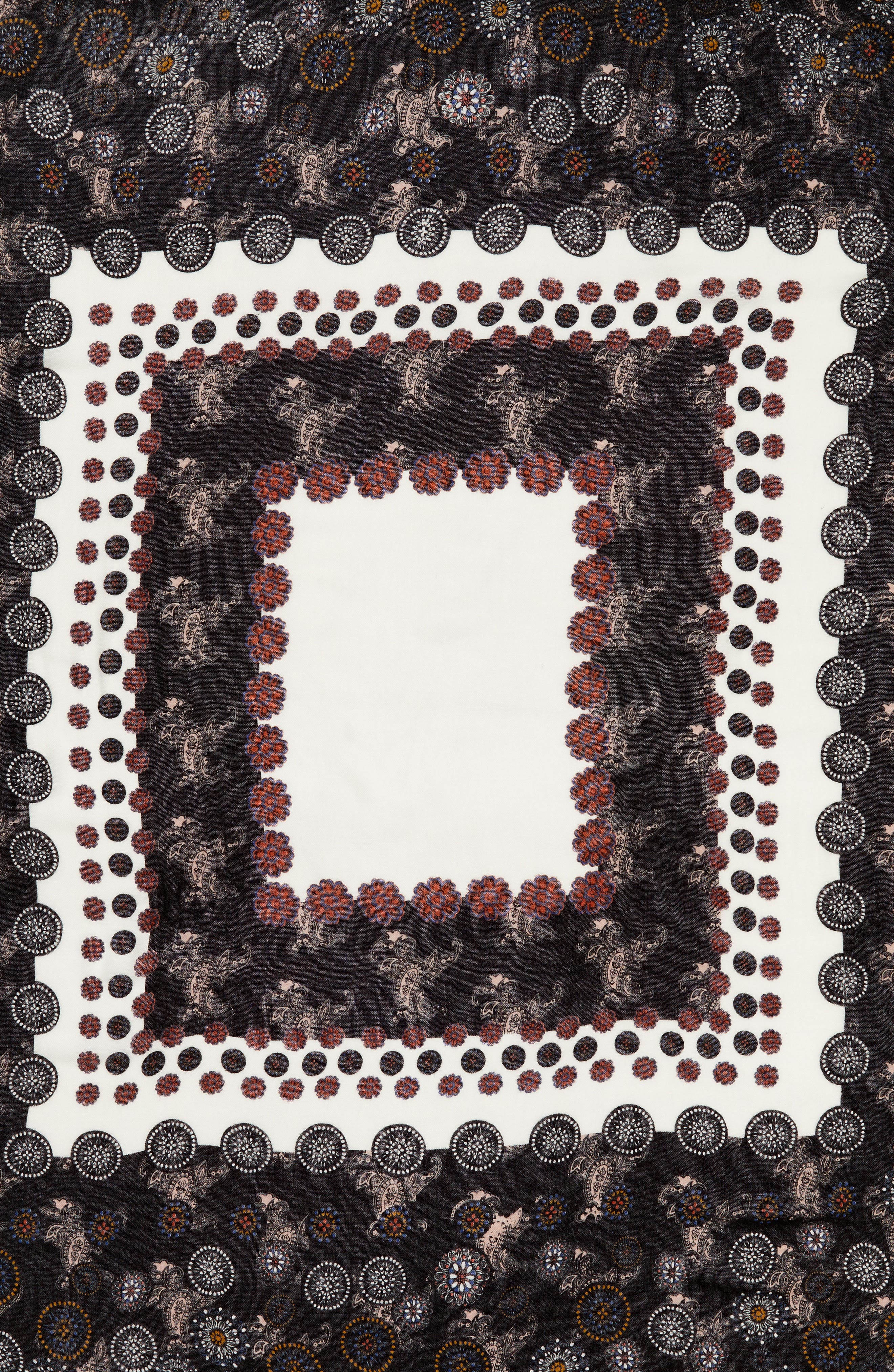 Retro Medallion Tassel Scarf,                             Alternate thumbnail 4, color,                             001