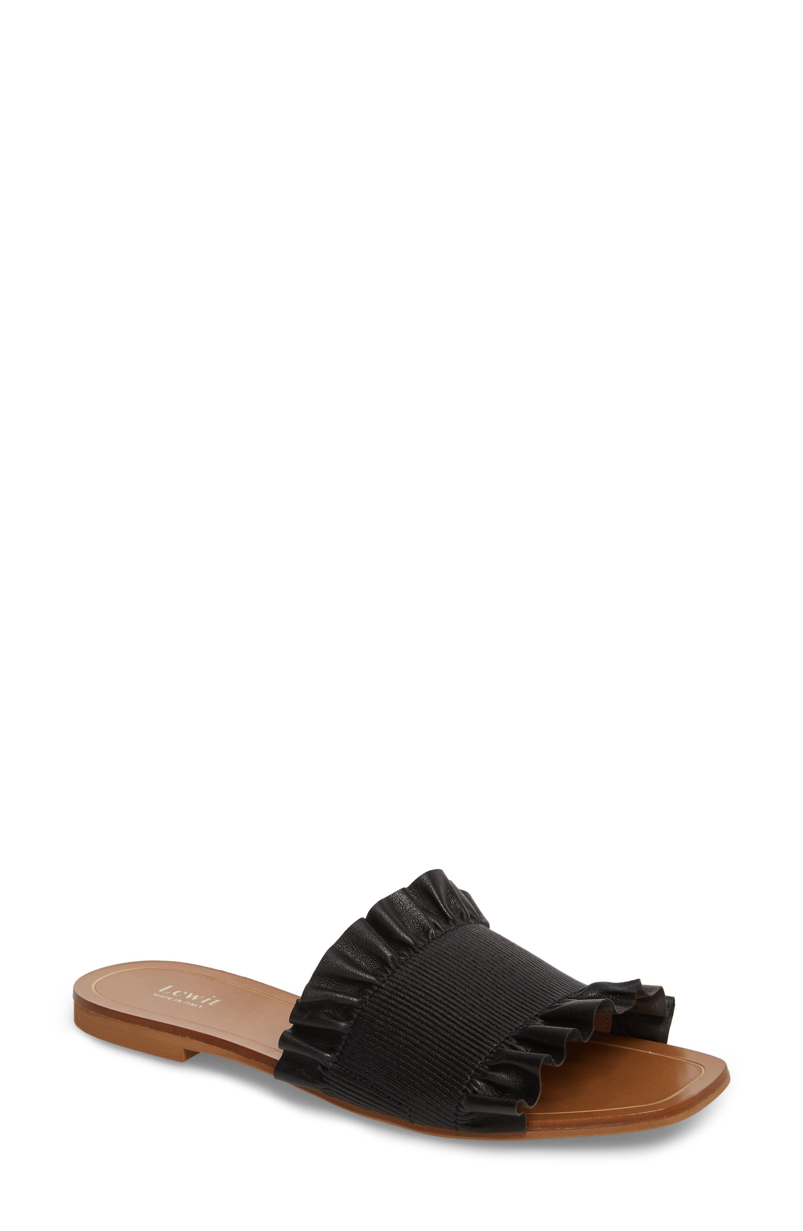 Cassandra Ruffle Slide Sandal,                         Main,                         color, 001