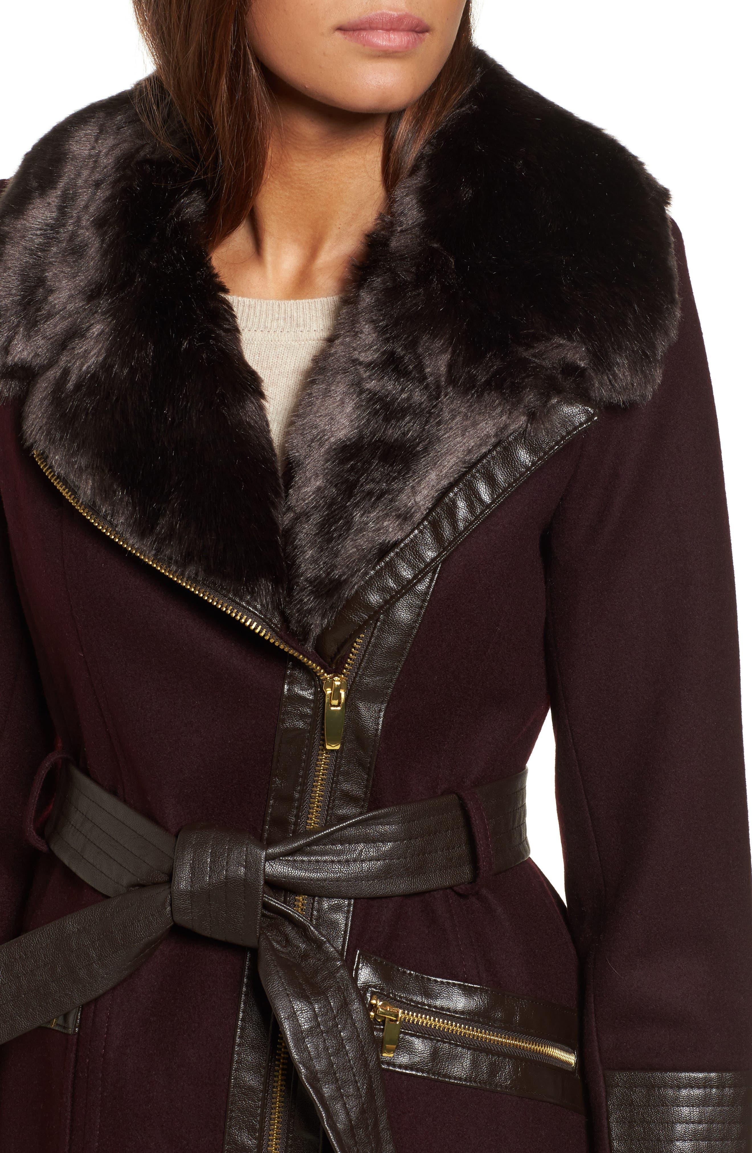 Faux Leather & Faux Fur Trim Belted Wool Blend Coat,                             Alternate thumbnail 27, color,