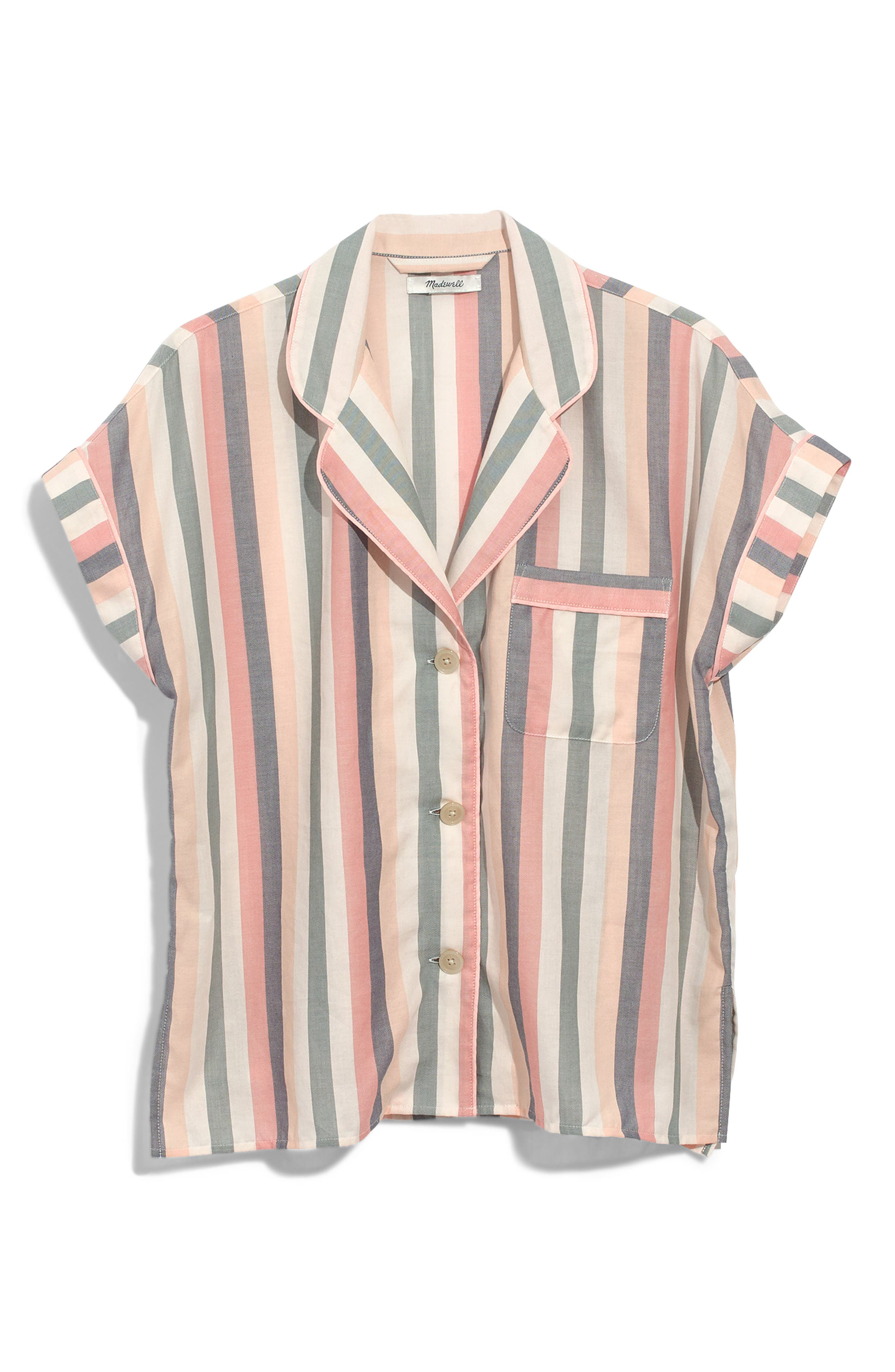 MADEWELL,                             Bedtime Lonnie Stripe Pajama Top,                             Alternate thumbnail 3, color,                             650