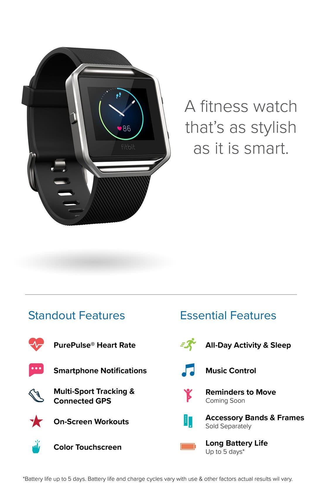 'Blaze' Slim Band Smart Fitness Watch, 40mm,                             Alternate thumbnail 4, color,                             650
