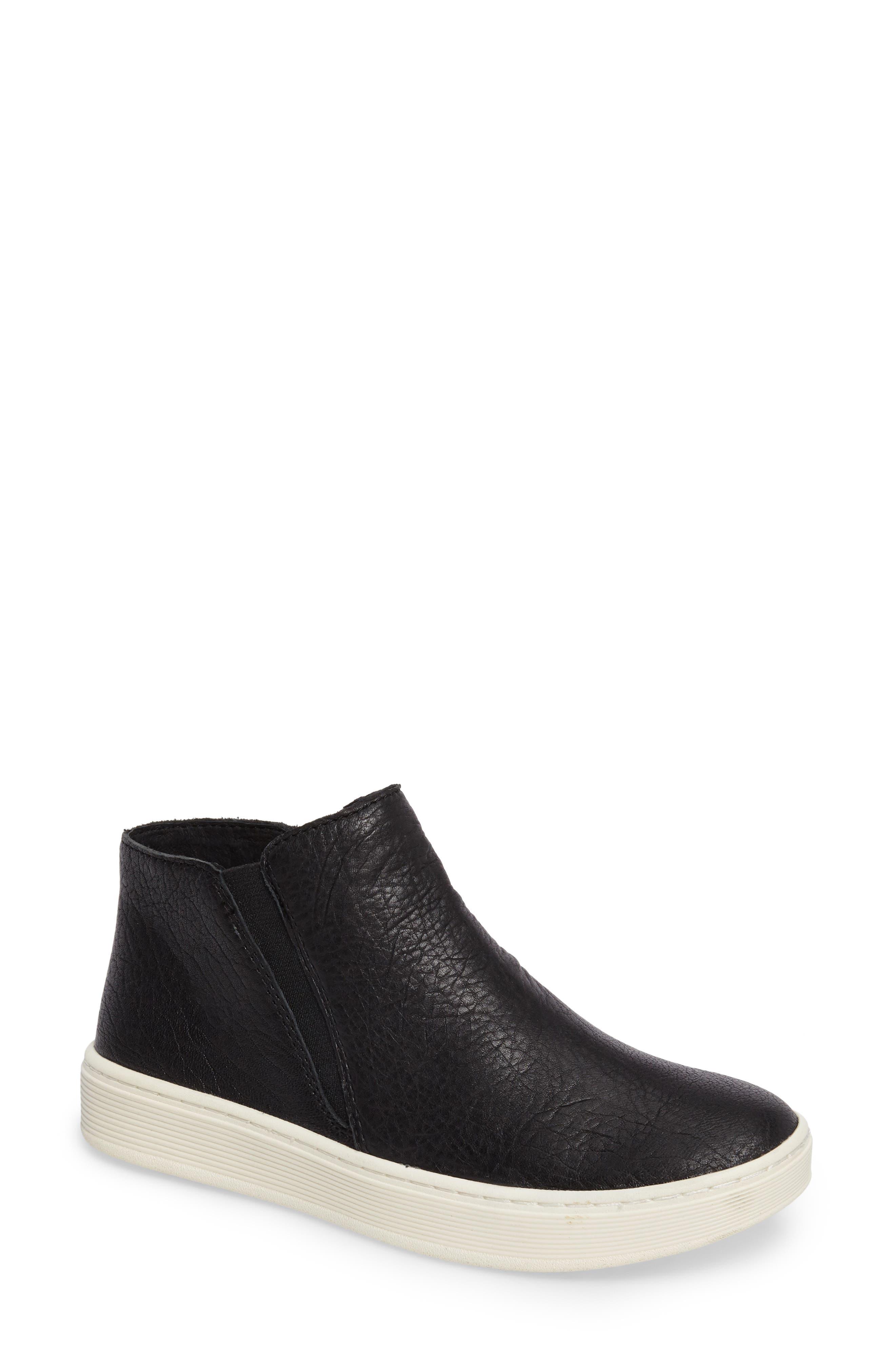 Britton Chelsea Sneaker,                         Main,                         color, BLACK LEATHER