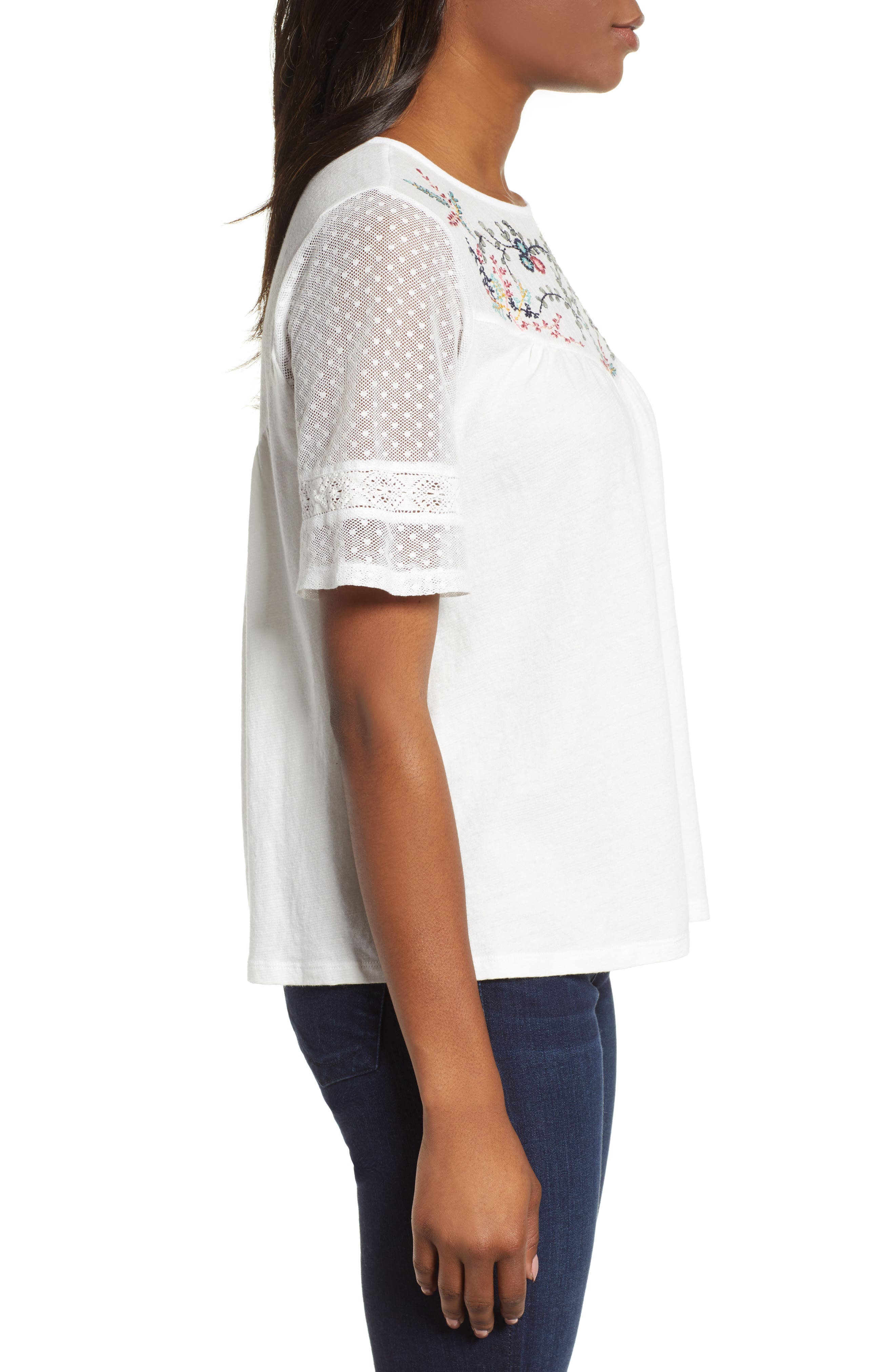 LUCKY BRAND,                             Embroidered Yoke Peasant Top,                             Alternate thumbnail 3, color,                             LUCKY WHITE