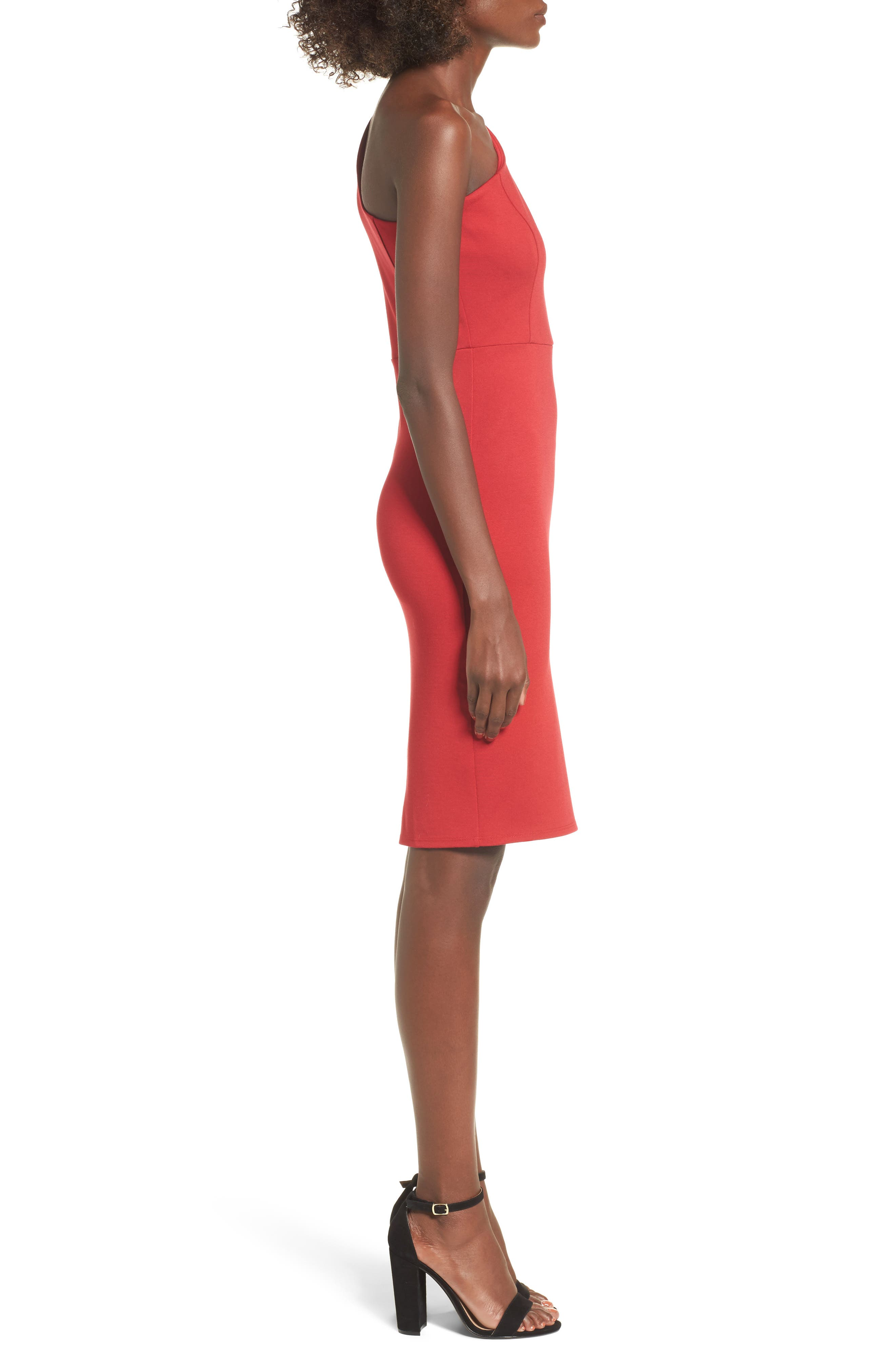 One-Shoulder Body-Con Dress,                             Alternate thumbnail 9, color,