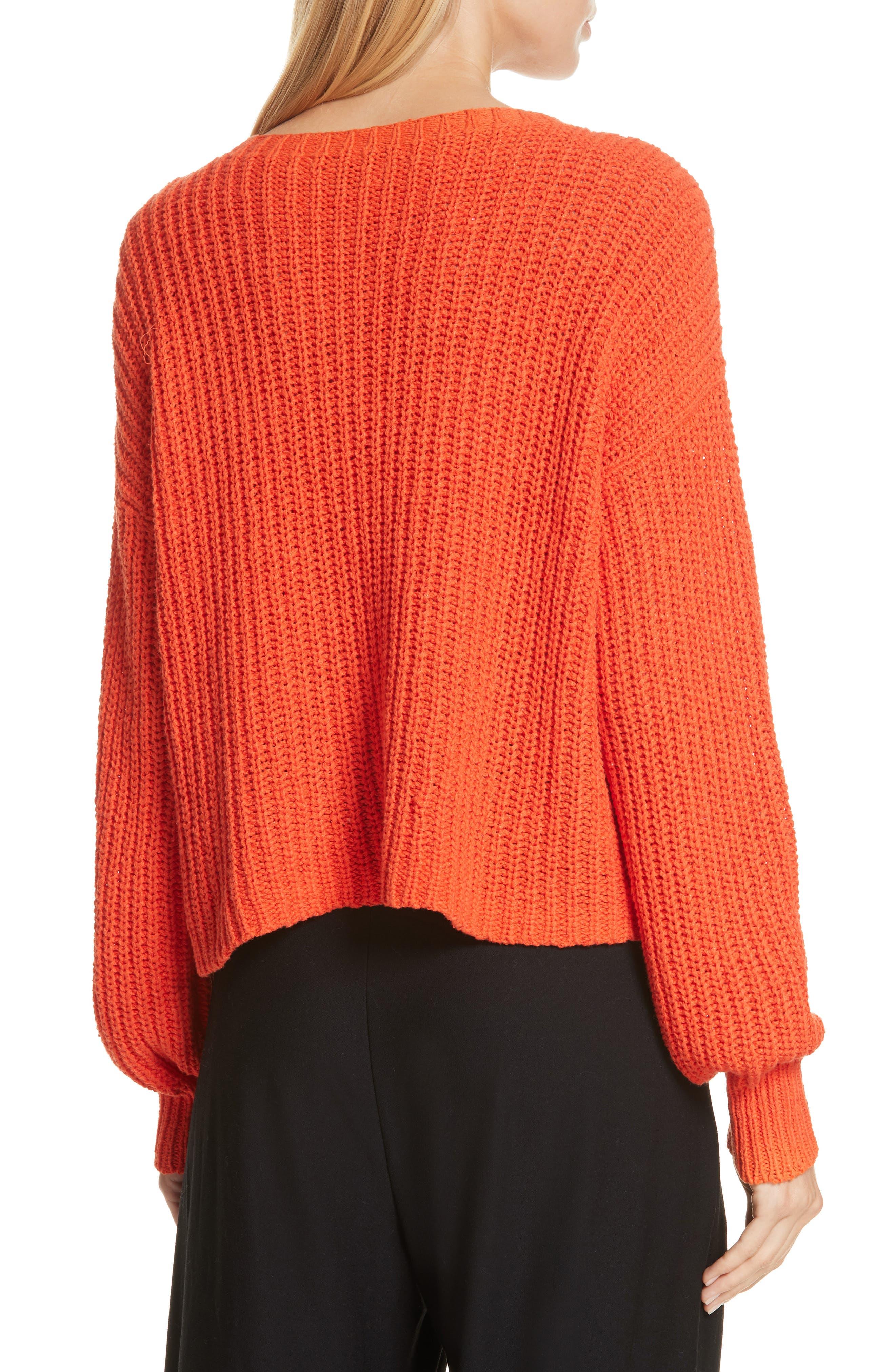 Crewneck Crop Shaker Sweater,                             Alternate thumbnail 2, color,                             HOT RED