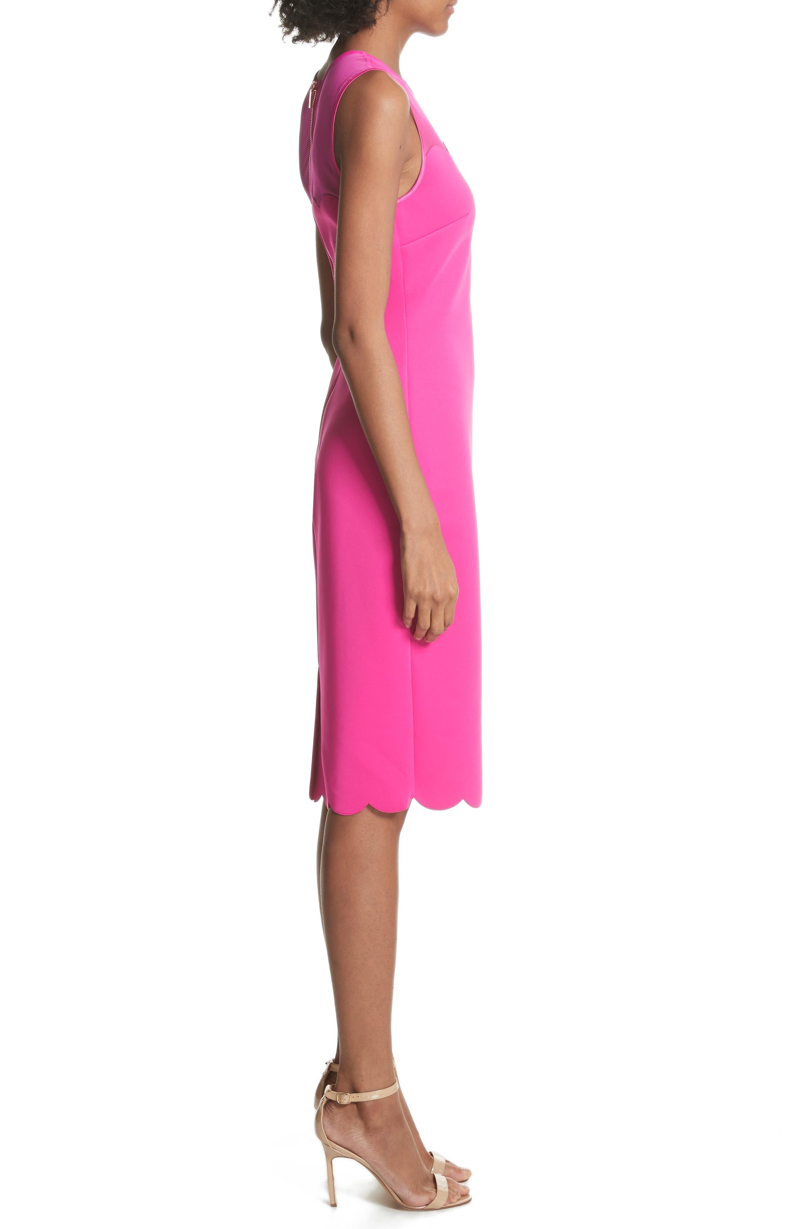 Scalloped Mesh Yoke Body-Con Dress,                             Alternate thumbnail 6, color,
