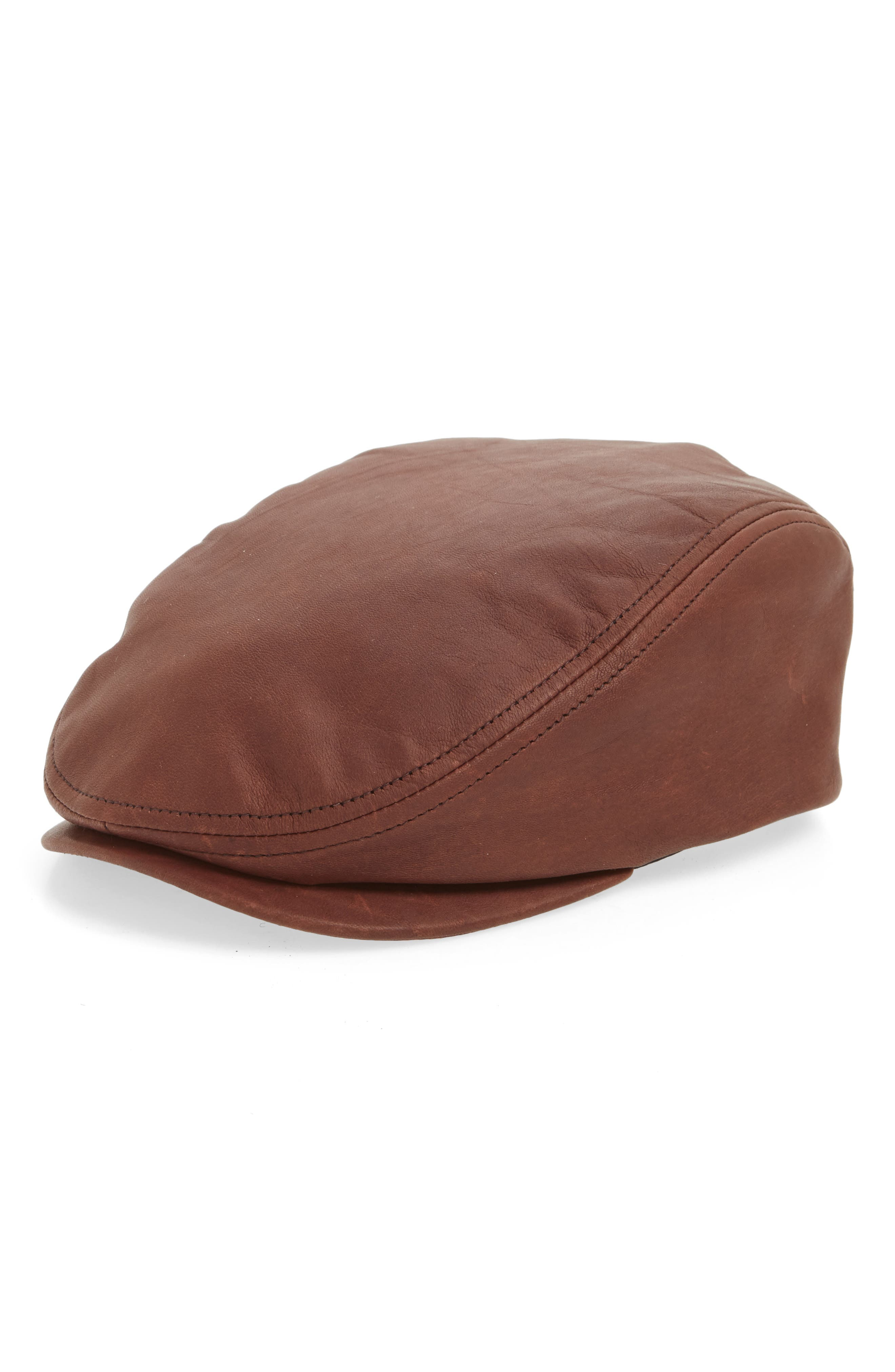 Leather Driving Cap,                         Main,                         color, MED. BROWN