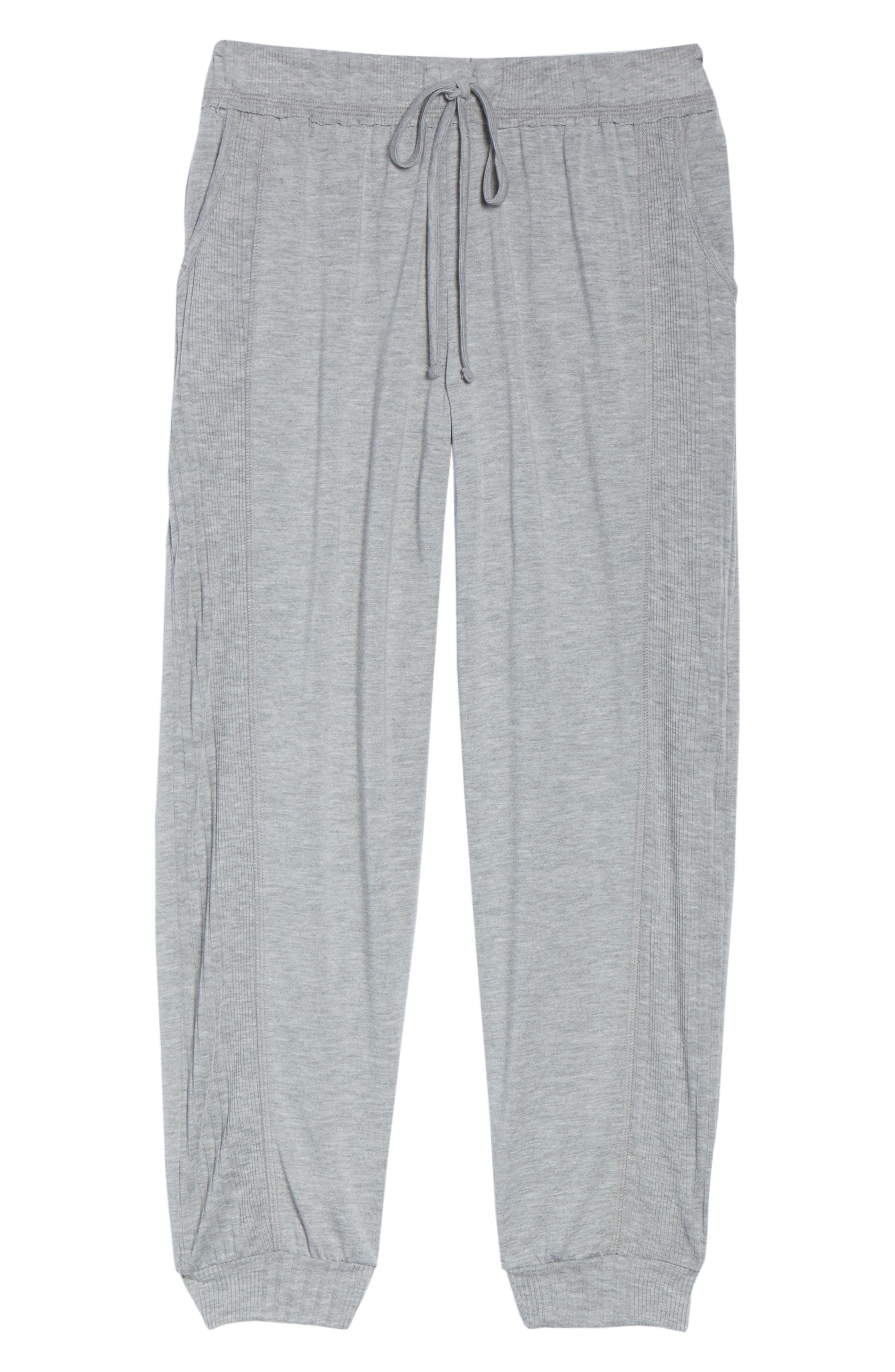 Crop Pajama Pants,                             Alternate thumbnail 6, color,                             LIGHT HEATHER GREY