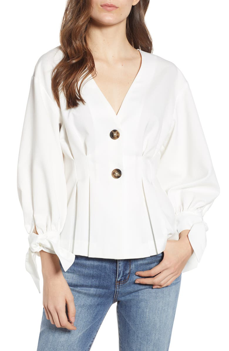 Endless Rose TIE CUFF TWO BUTTON BLOUSE