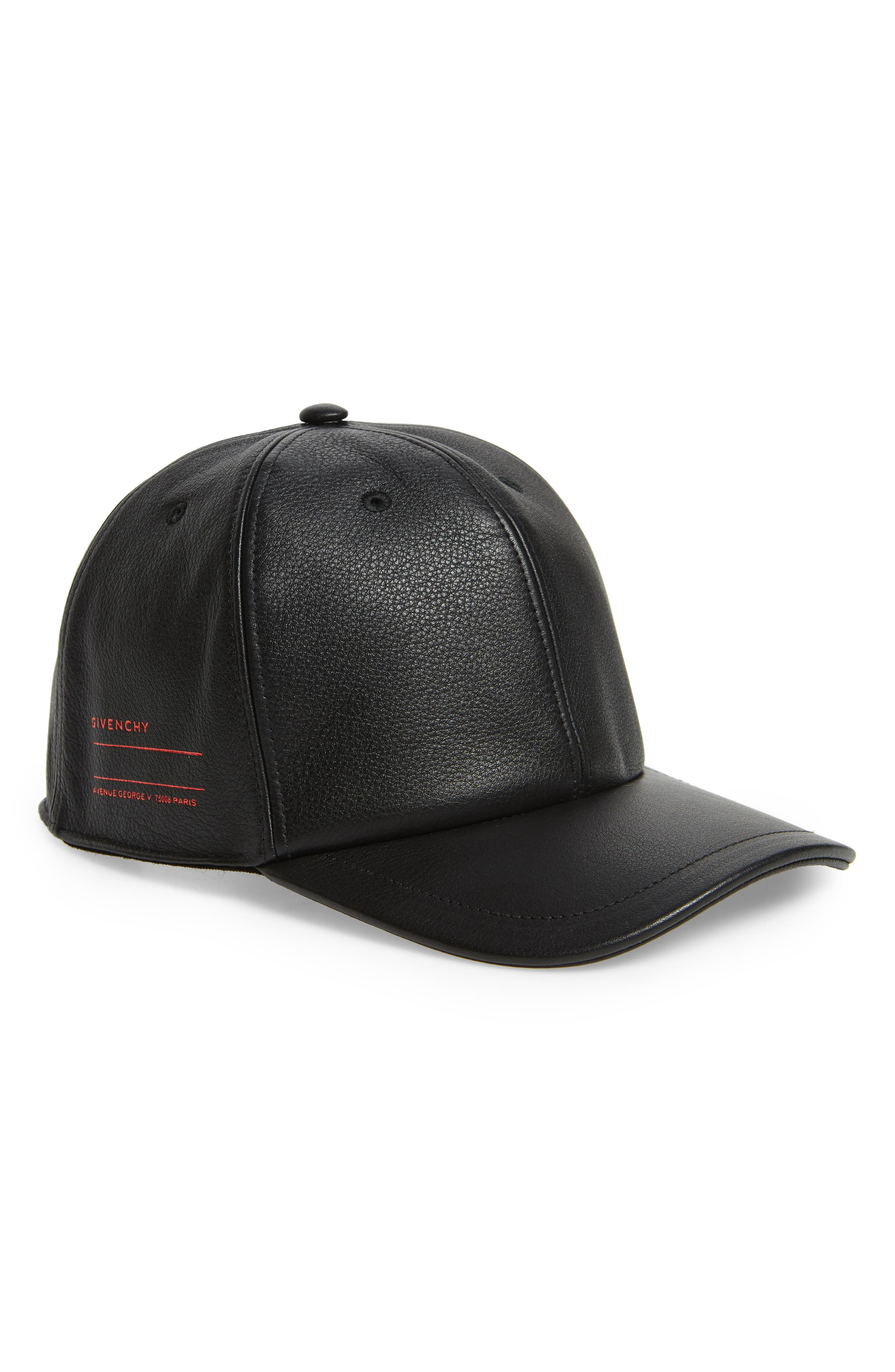 GIVENCHY Leather Ball Cap, Main, color, 005