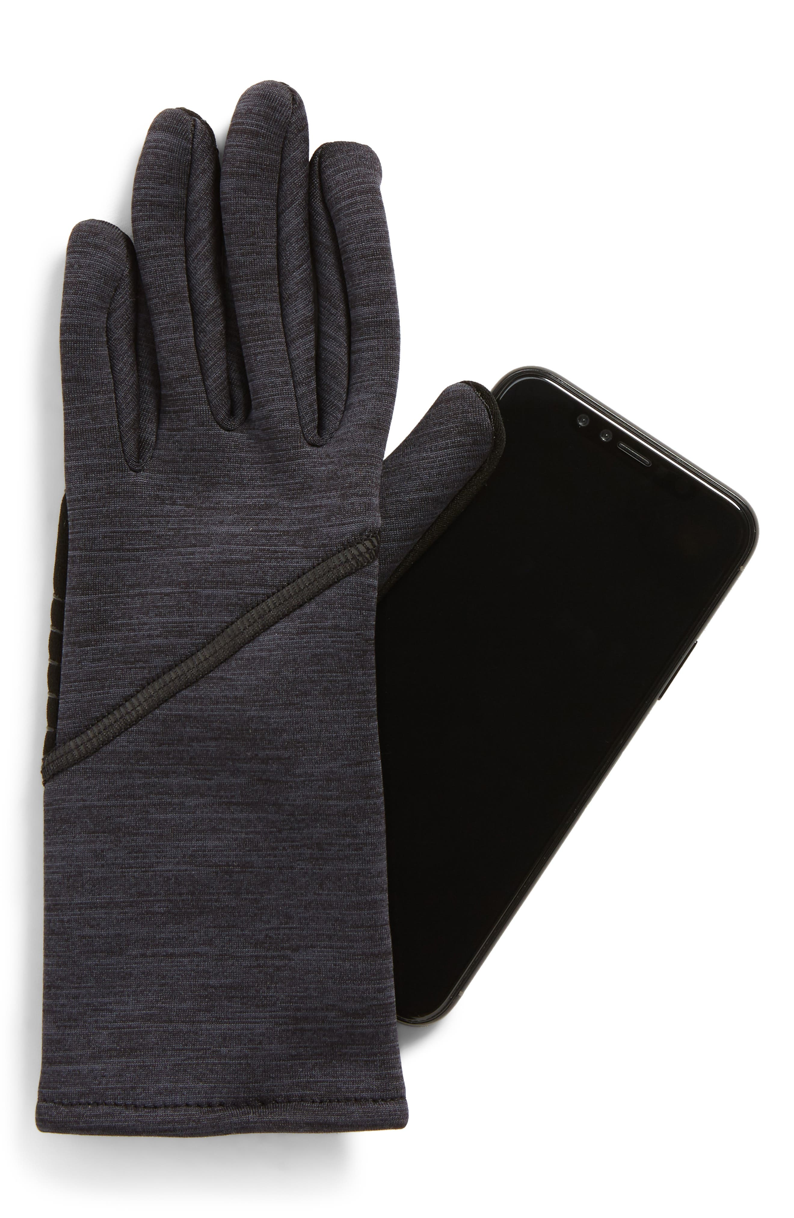 Quilted Tech Gloves,                             Alternate thumbnail 2, color,                             BLACK