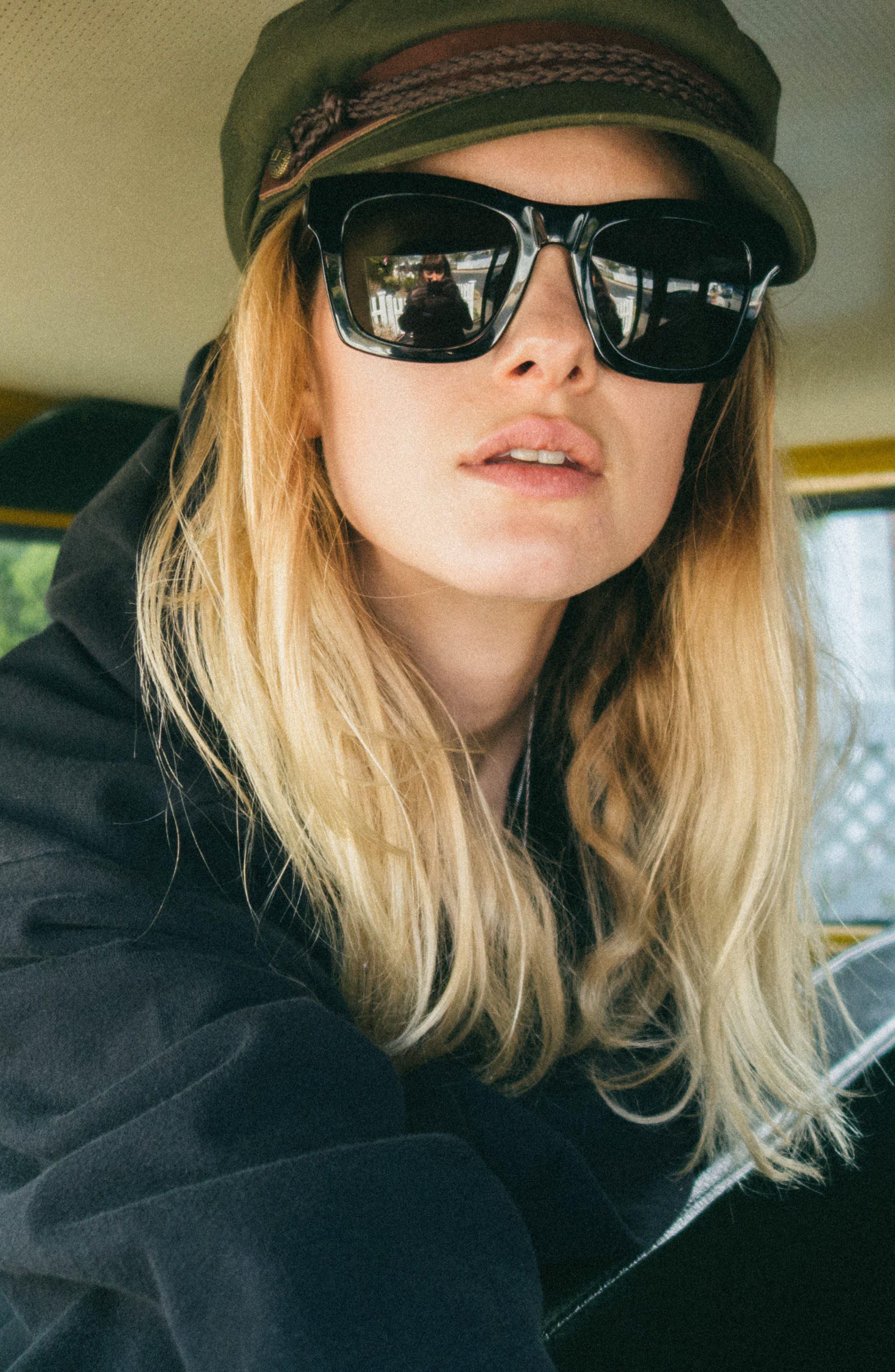 'Crasher' 54mm Retro Sunglasses,                             Alternate thumbnail 5, color,                             GLOSS BLACK/ GREY