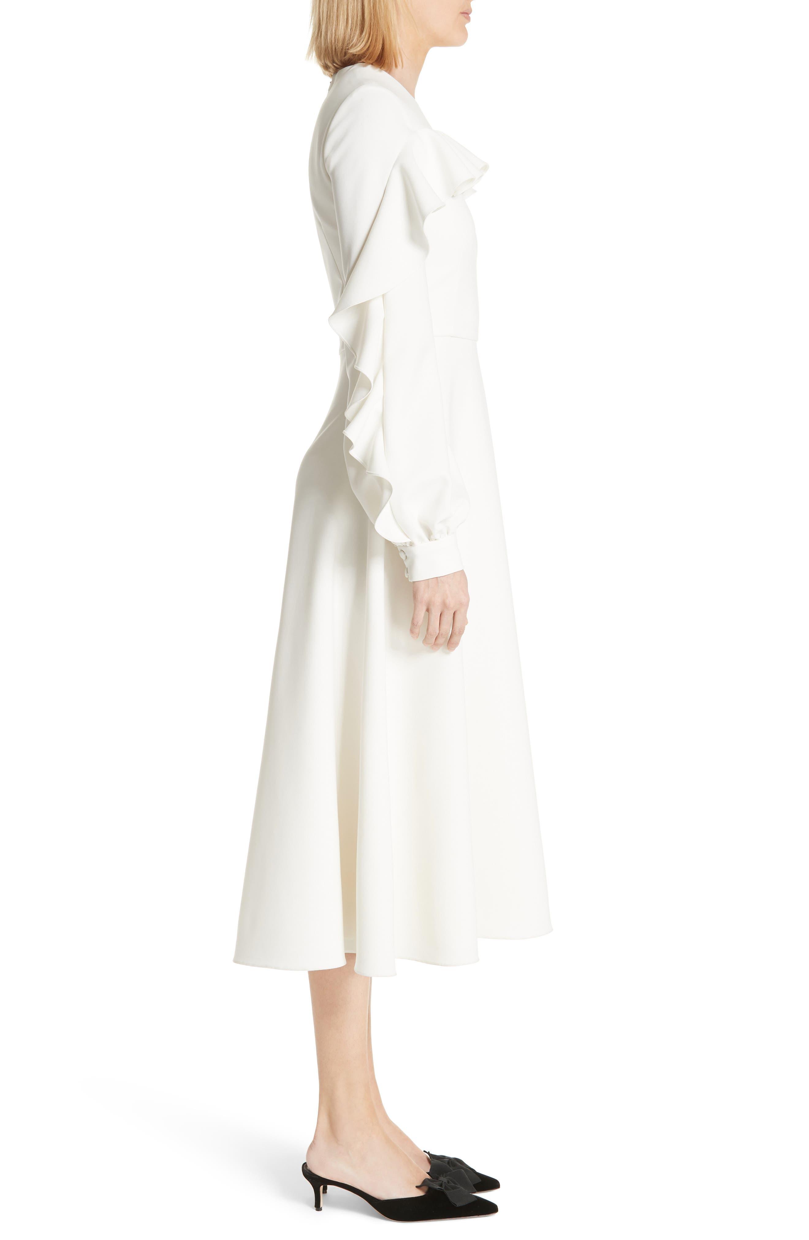 Long Sleeve Ruffle Detail Cocktail Dress,                             Alternate thumbnail 3, color,                             100