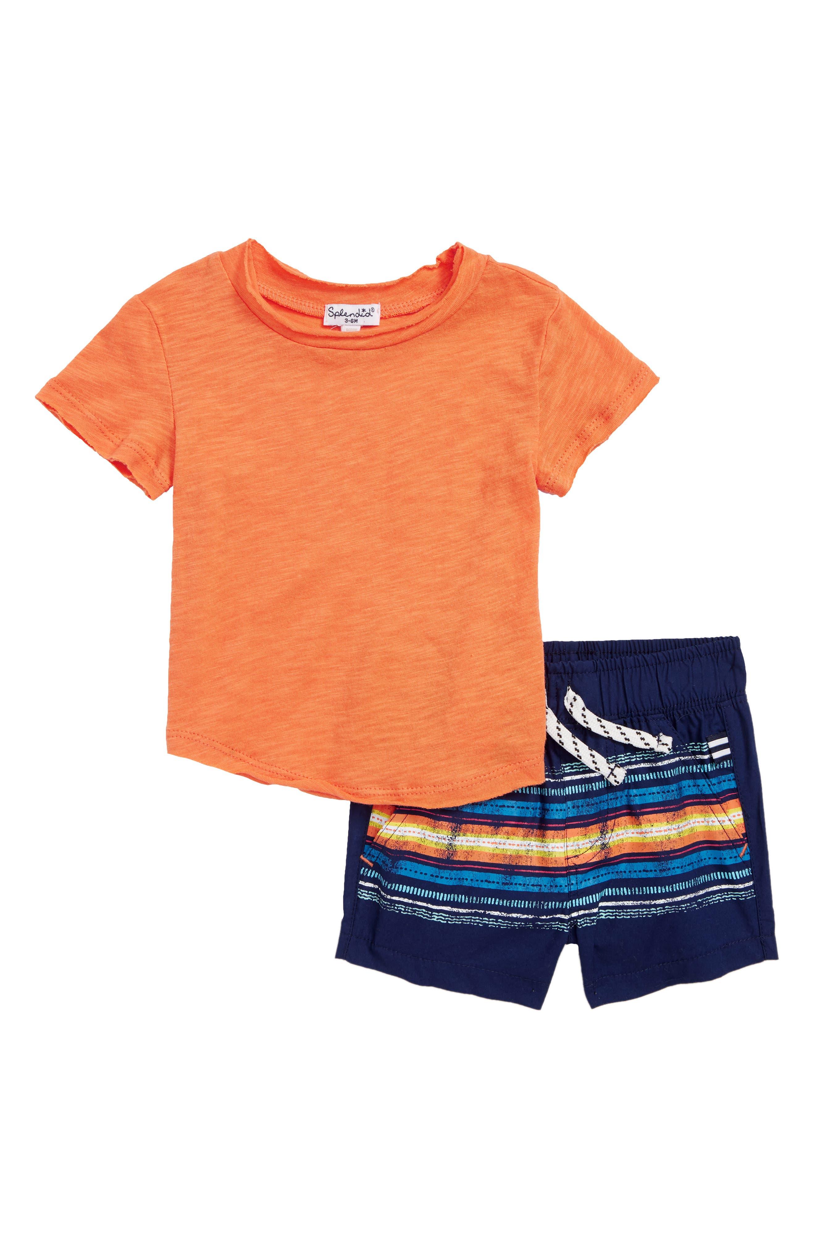 T-Shirt & Stripe Shorts Set,                             Main thumbnail 1, color,                             820