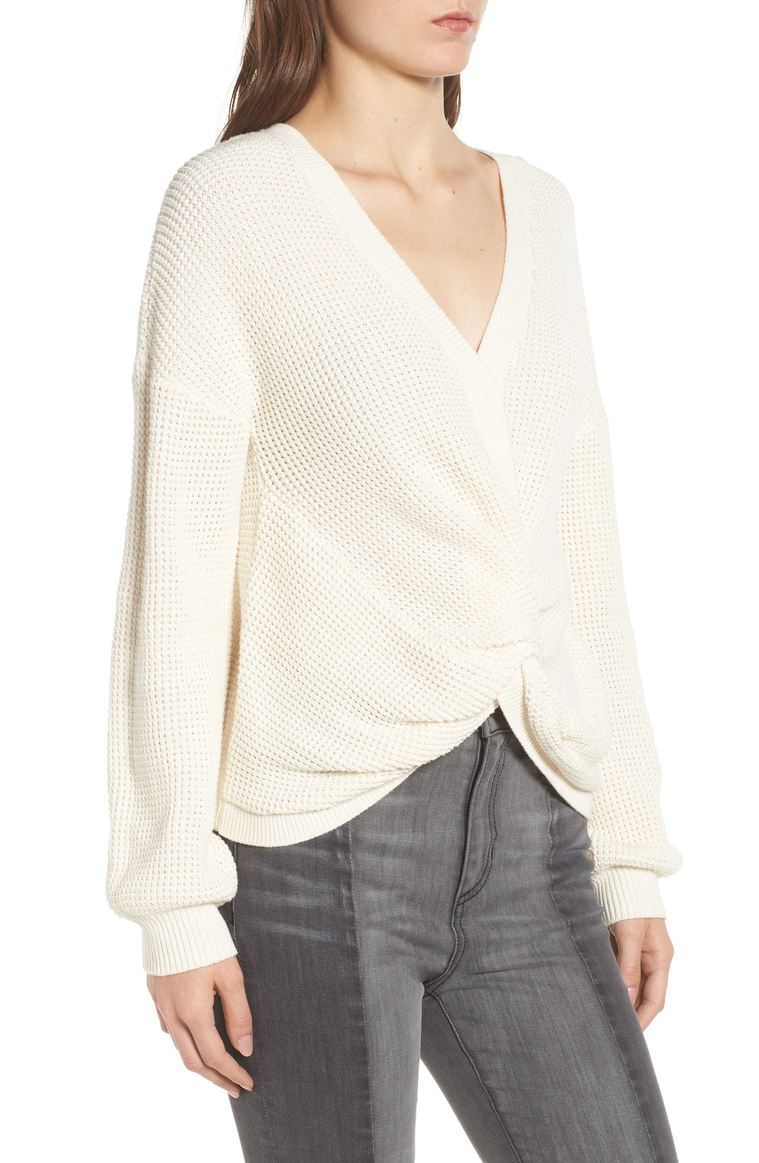 Twist Front Sweater,                             Alternate thumbnail 4, color,                             IVORY