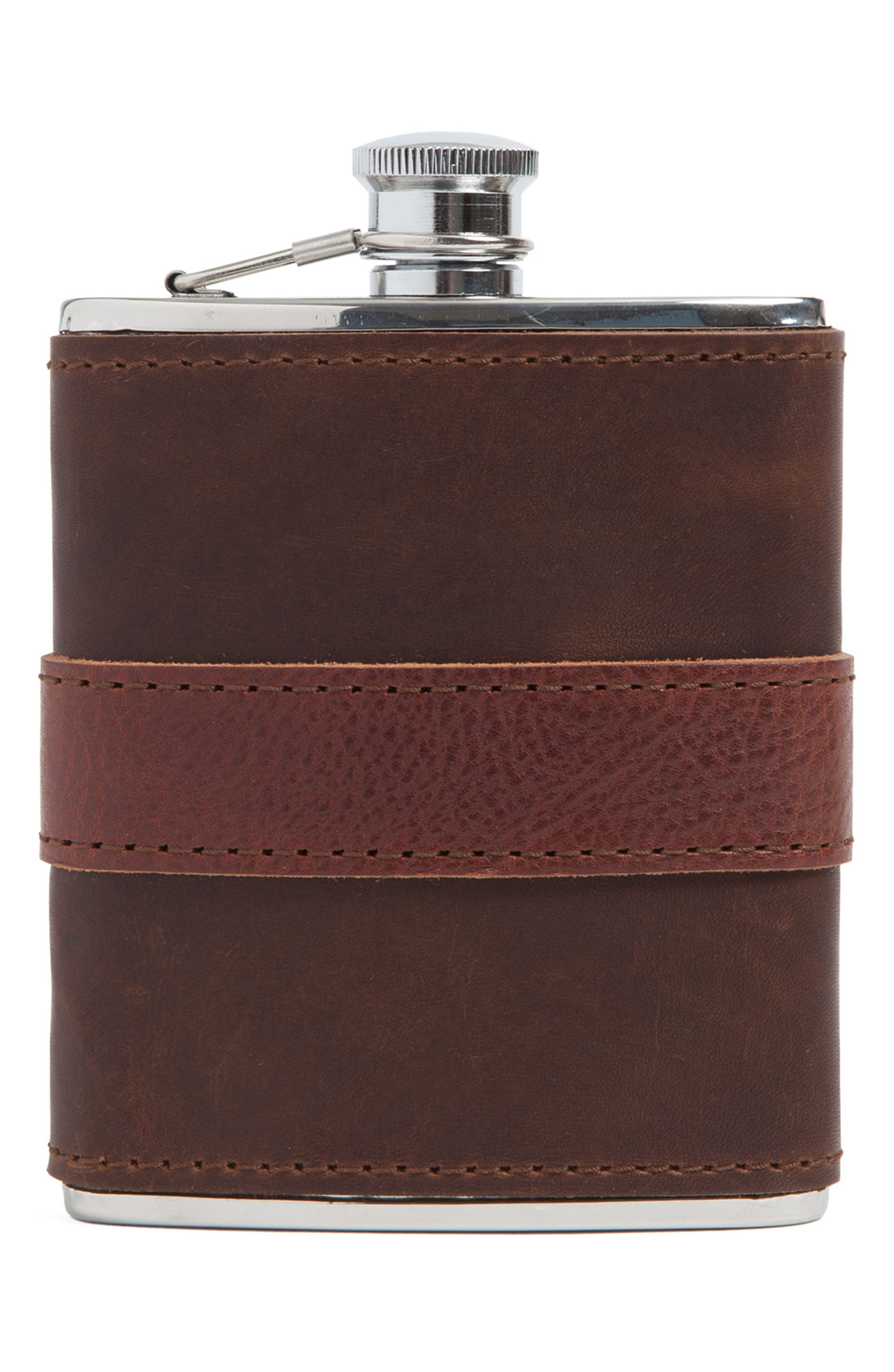 Leather Wrapped Flask,                             Main thumbnail 1, color,                             CHOCOLATE