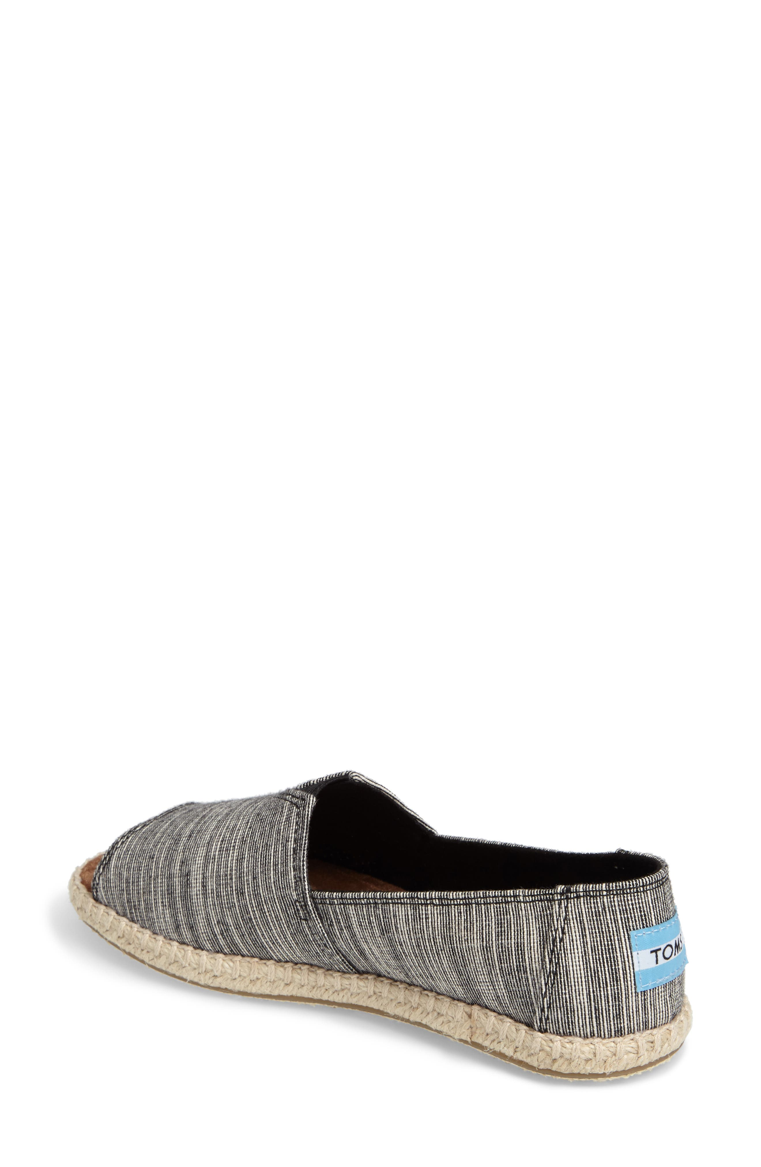 Open Toe Espadrille Slip-On,                             Alternate thumbnail 2, color,                             001