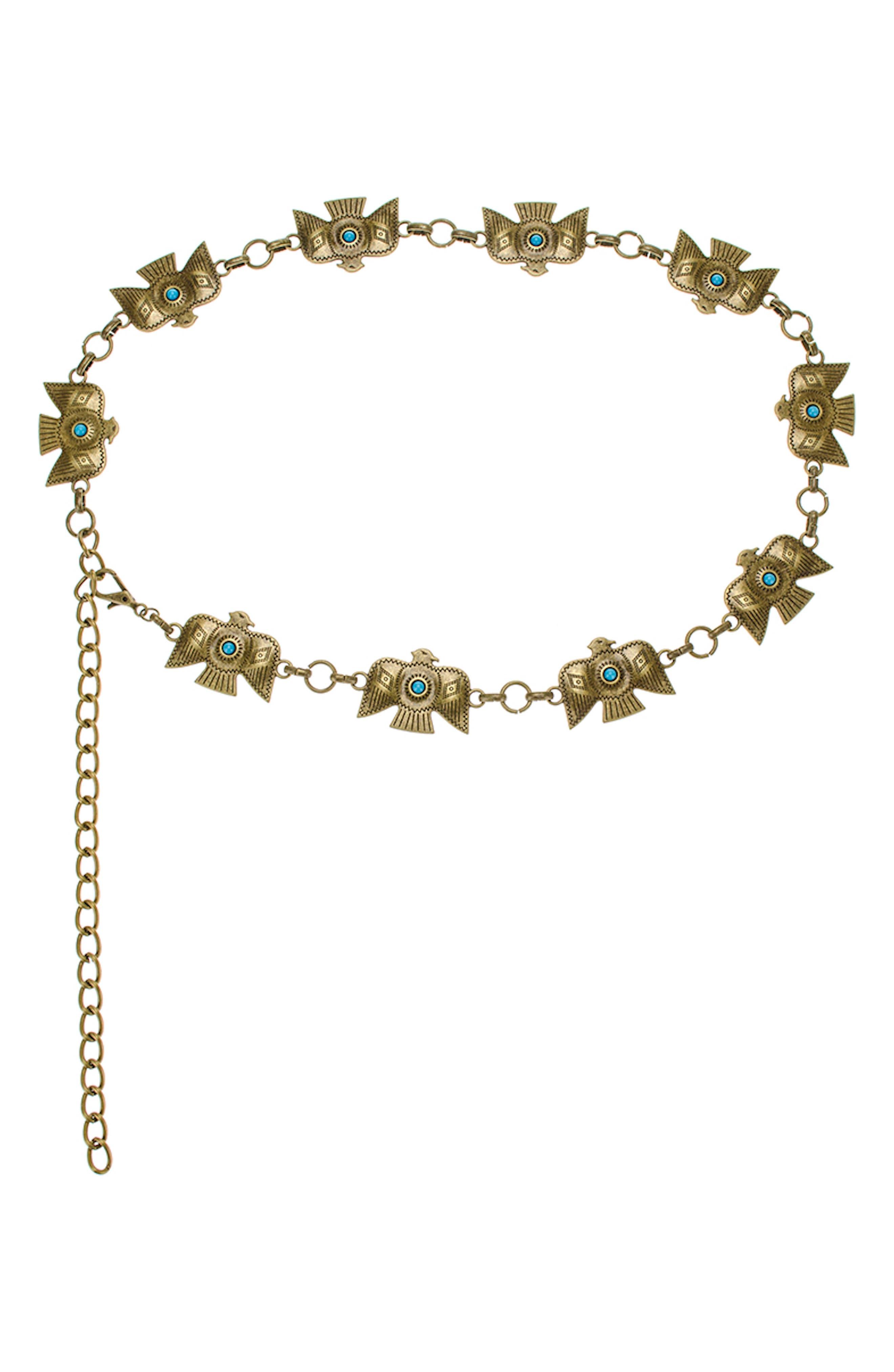 Zuni Turquoise Thunderbird Chain Belt,                             Main thumbnail 1, color,
