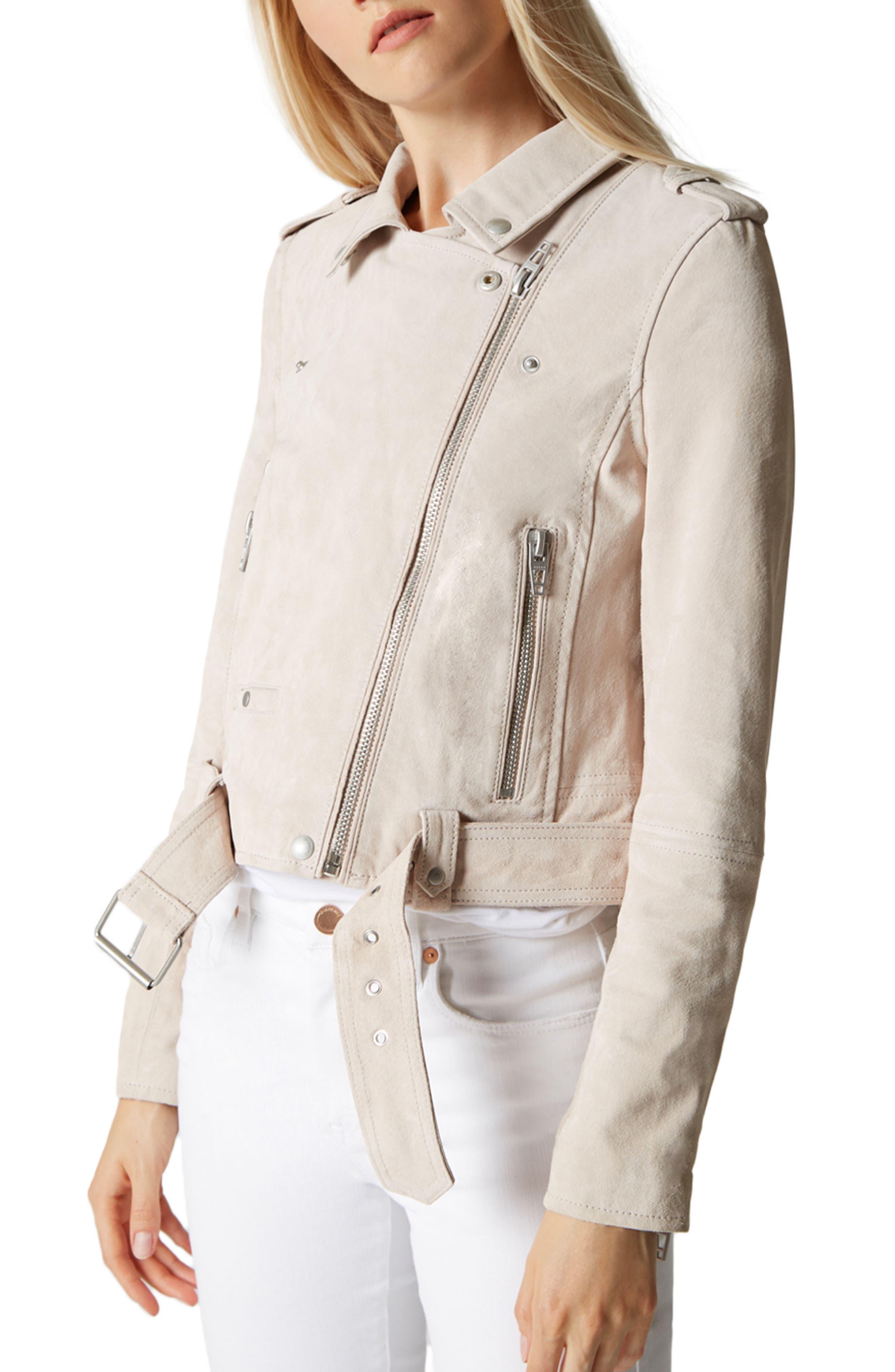 BLANKNYC,                             Suede Moto Jacket,                             Alternate thumbnail 3, color,                             020