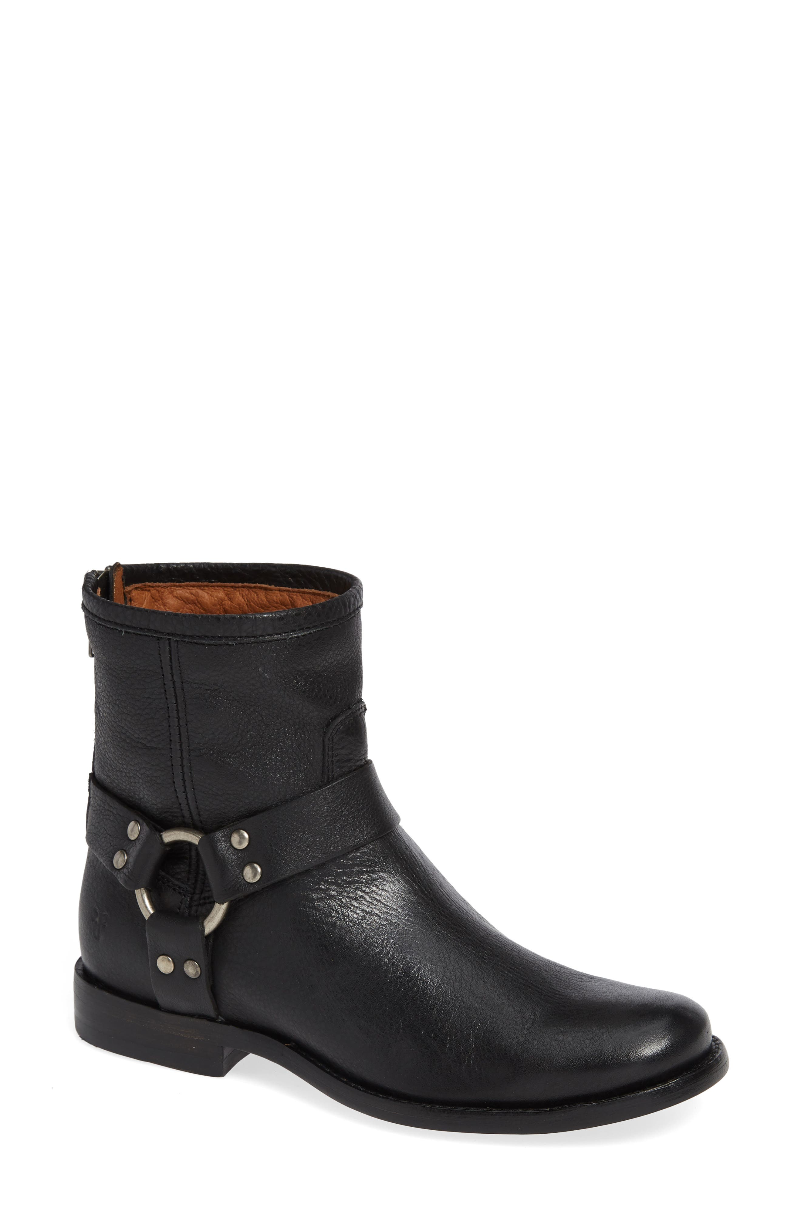 Women'S Phillip Leather Moto Boots in Dark Brown Leather