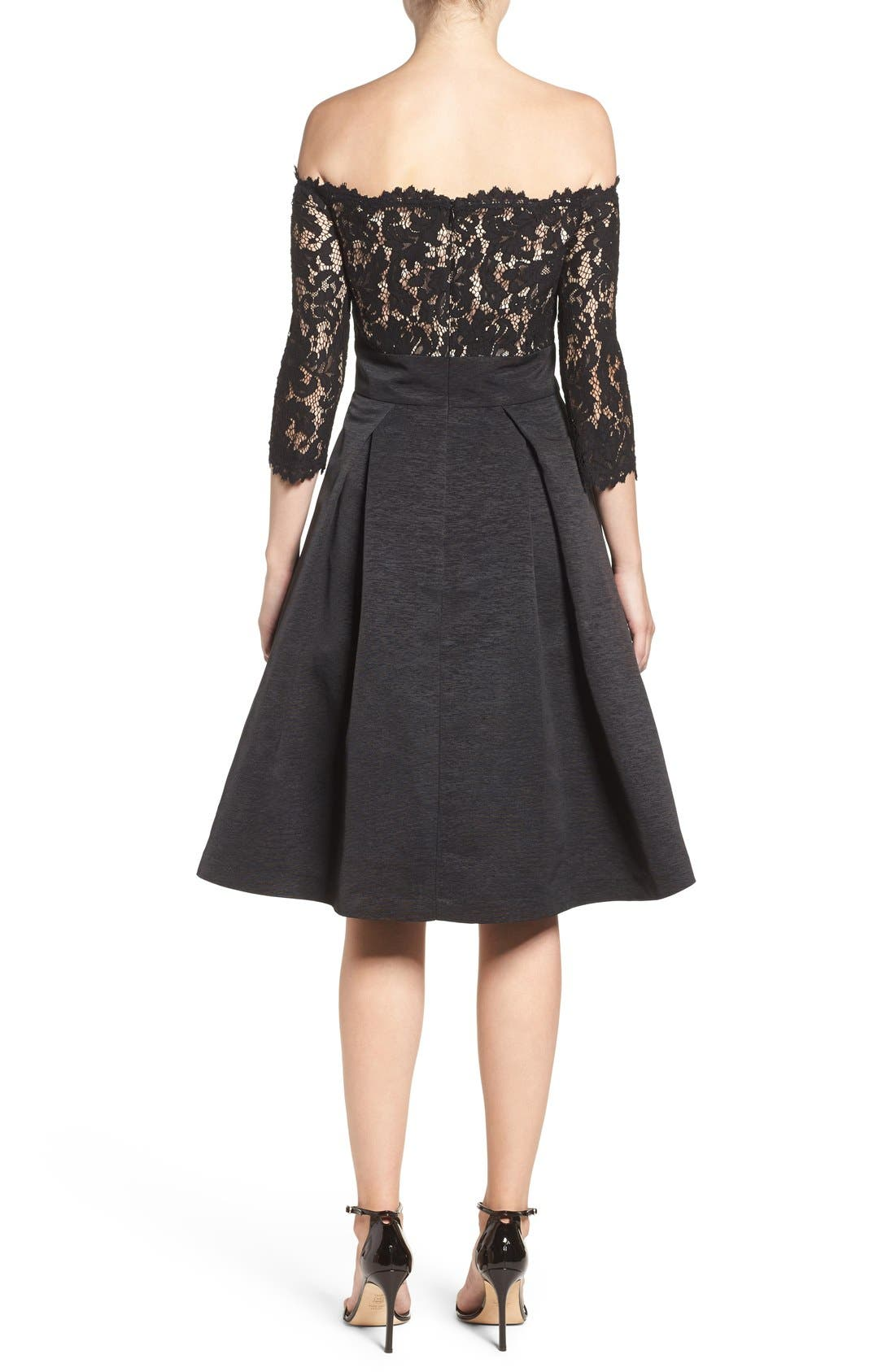 Off the Shoulder A-Line Dress,                             Alternate thumbnail 10, color,                             BLACK