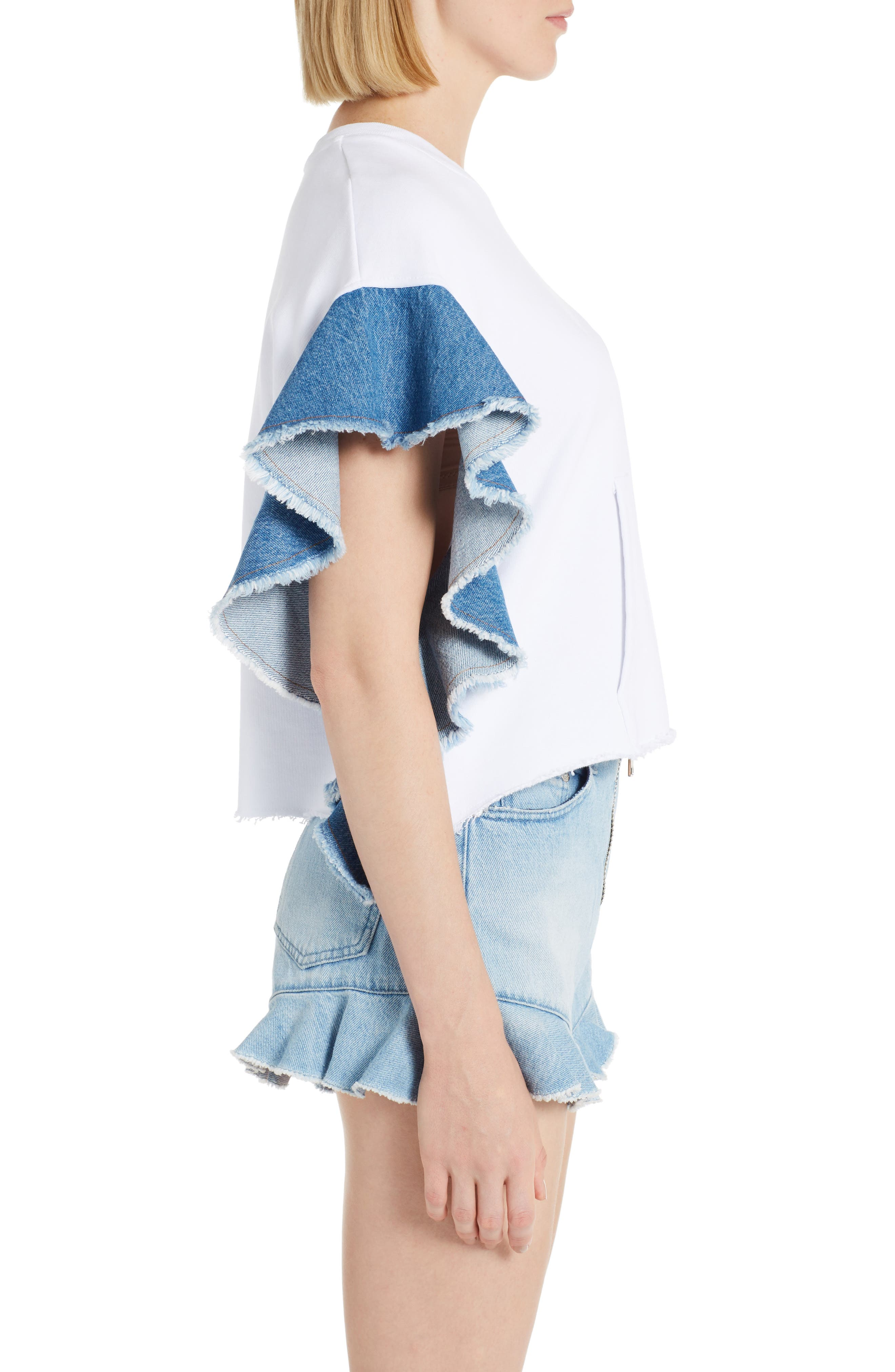Denim Flutter Sleeve Cotton Top,                             Alternate thumbnail 3, color,                             101