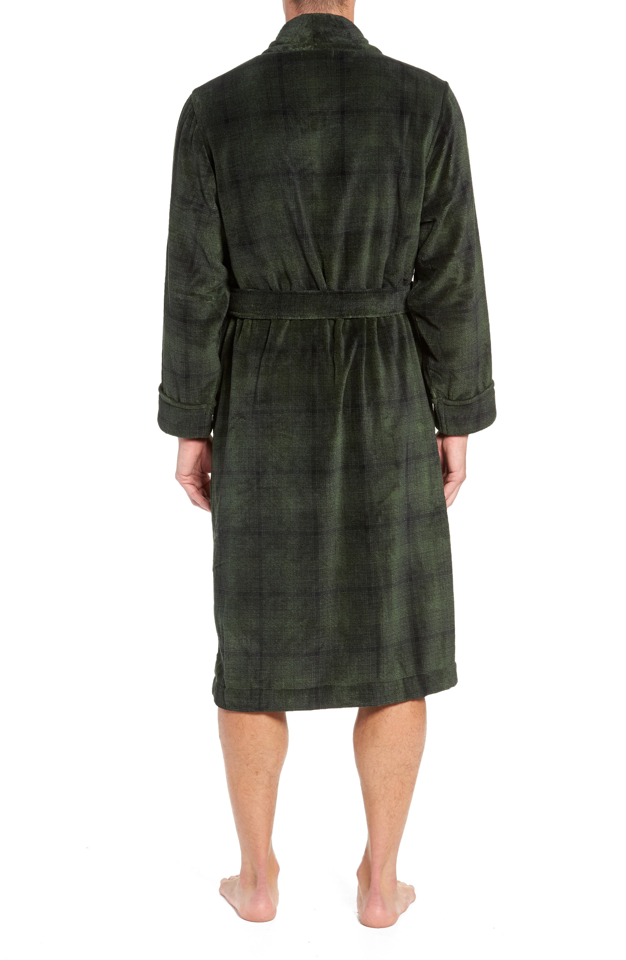 Ombré Plaid Fleece Robe,                             Alternate thumbnail 2, color,                             GREEN - BLACK OMBRE PLAID