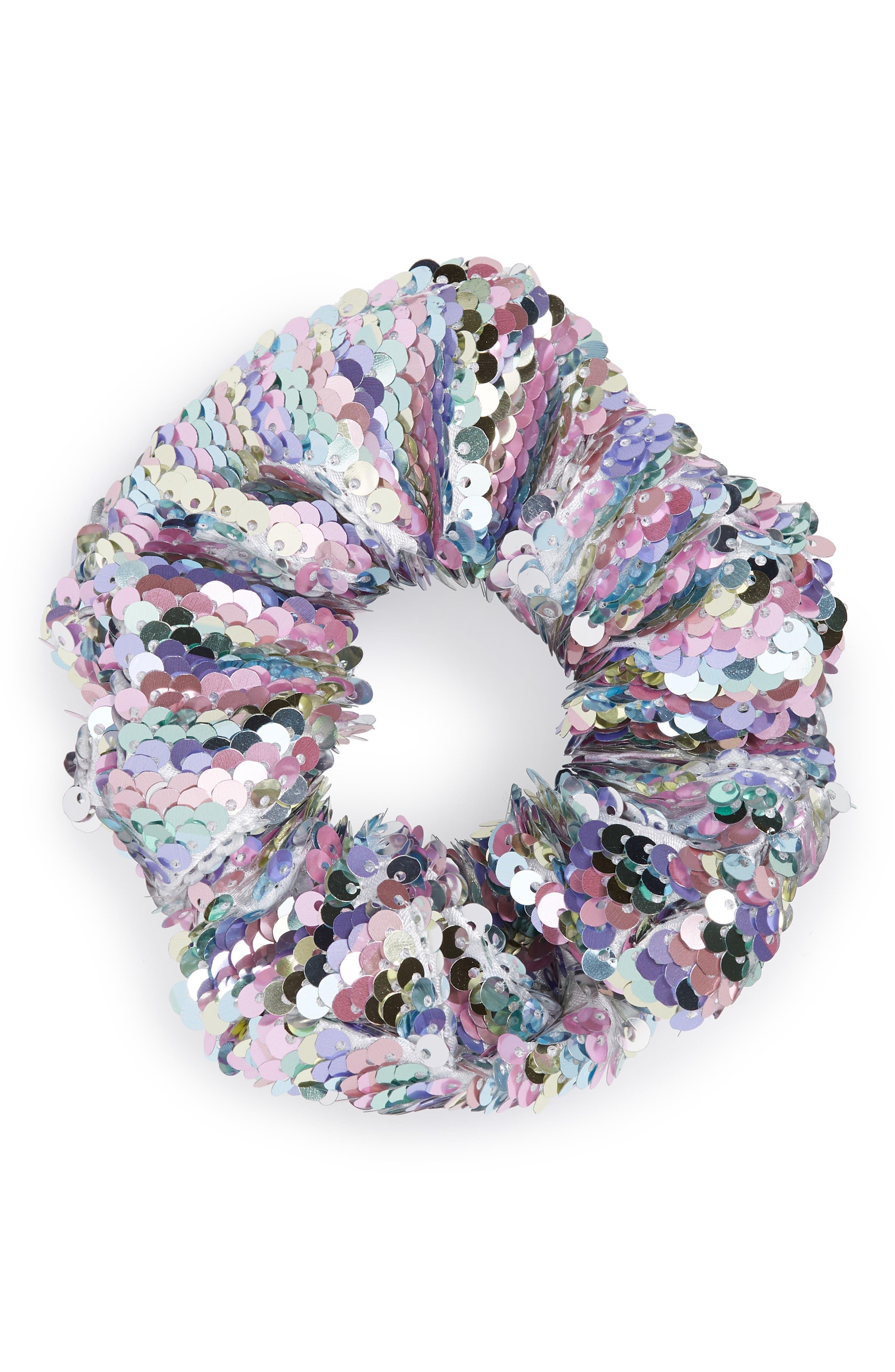 Sequin Scrunchie,                         Main,                         color, SILVER MULTI