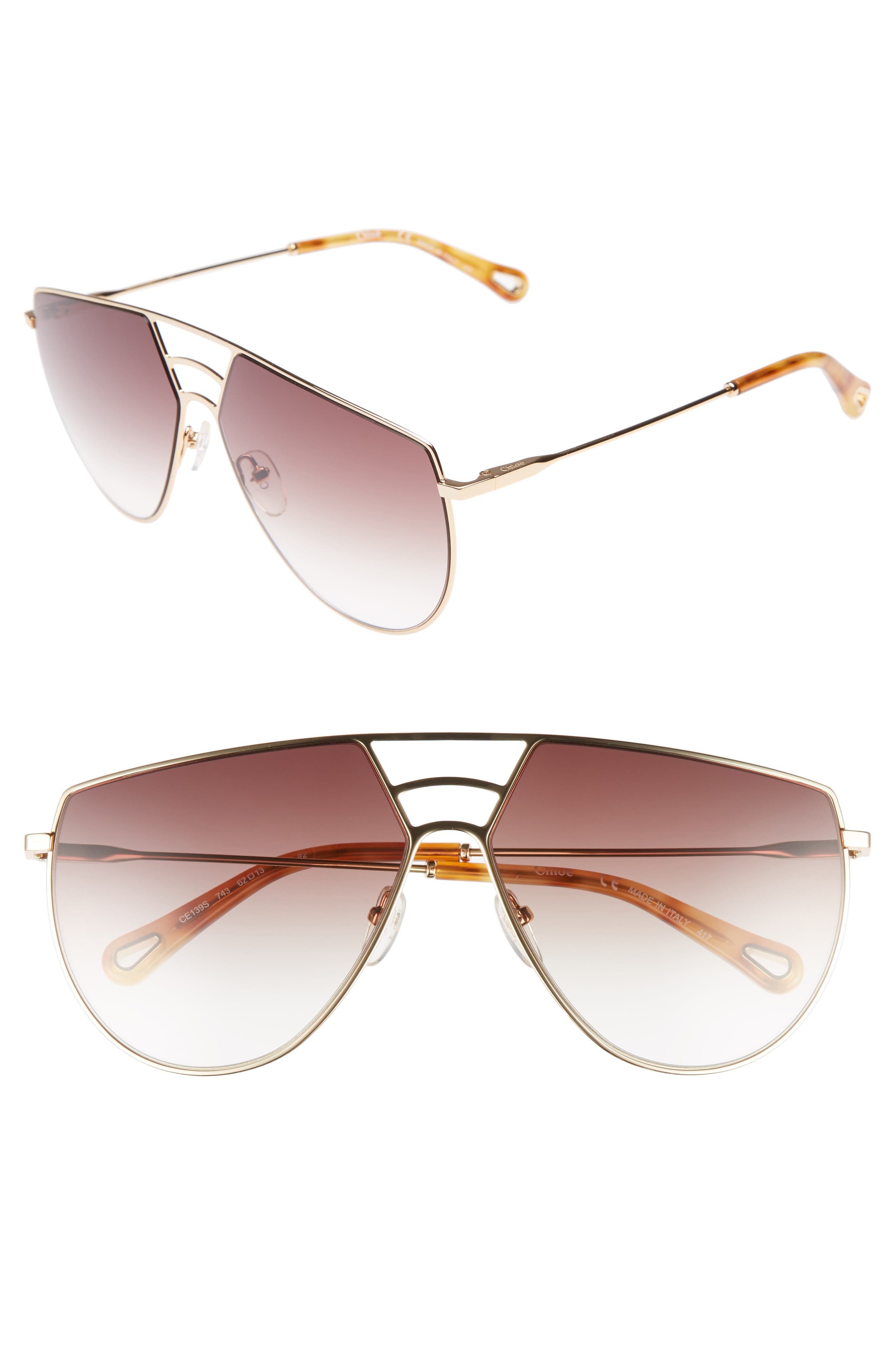 Negative Space 62mm Oversize Aviator Sunglasses,                             Main thumbnail 1, color,                             710
