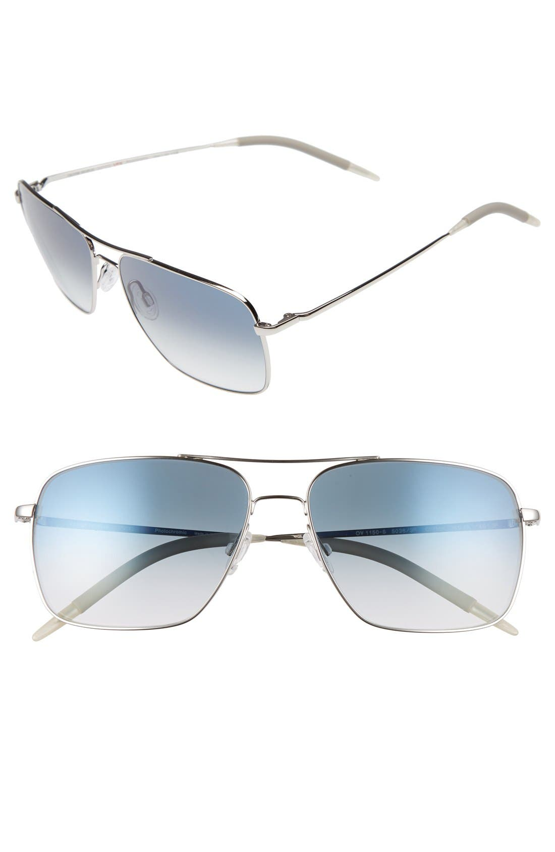 Clifton 58mm Aviator Sunglasses,                         Main,                         color, SILVER
