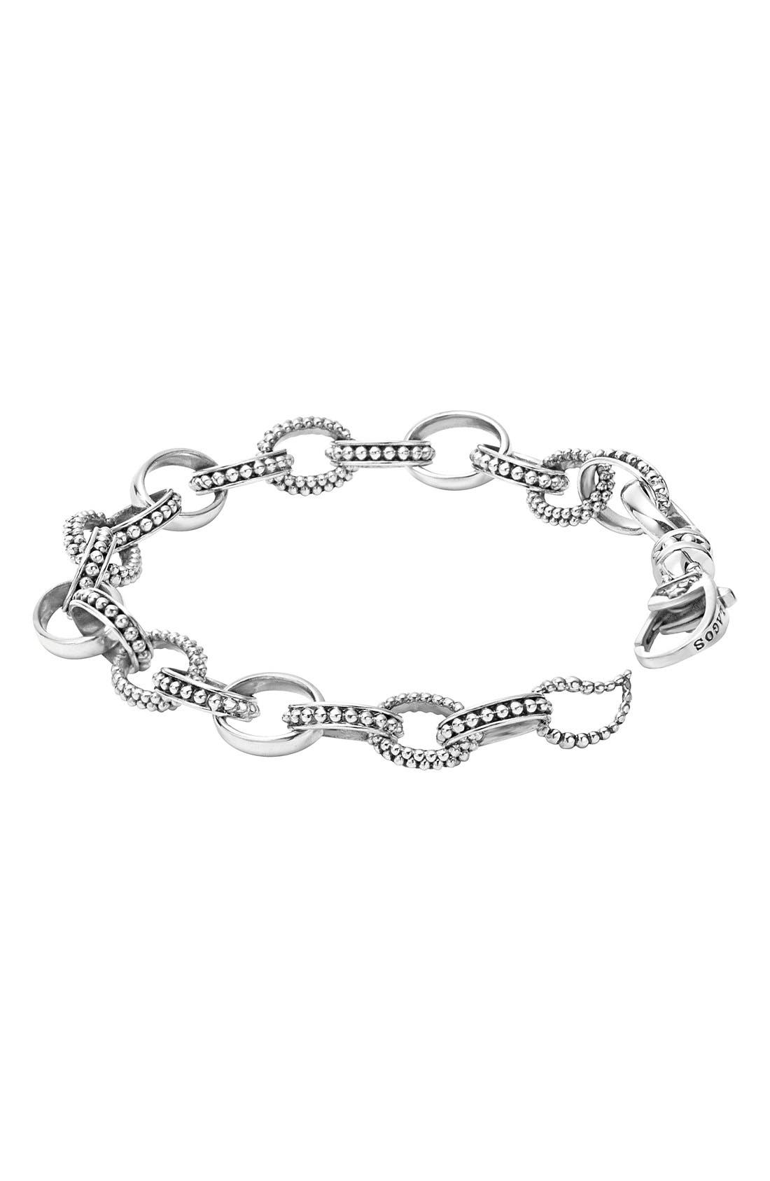 LAGOS,                             'Link' Caviar Chain Bracelet,                             Alternate thumbnail 4, color,                             SILVER