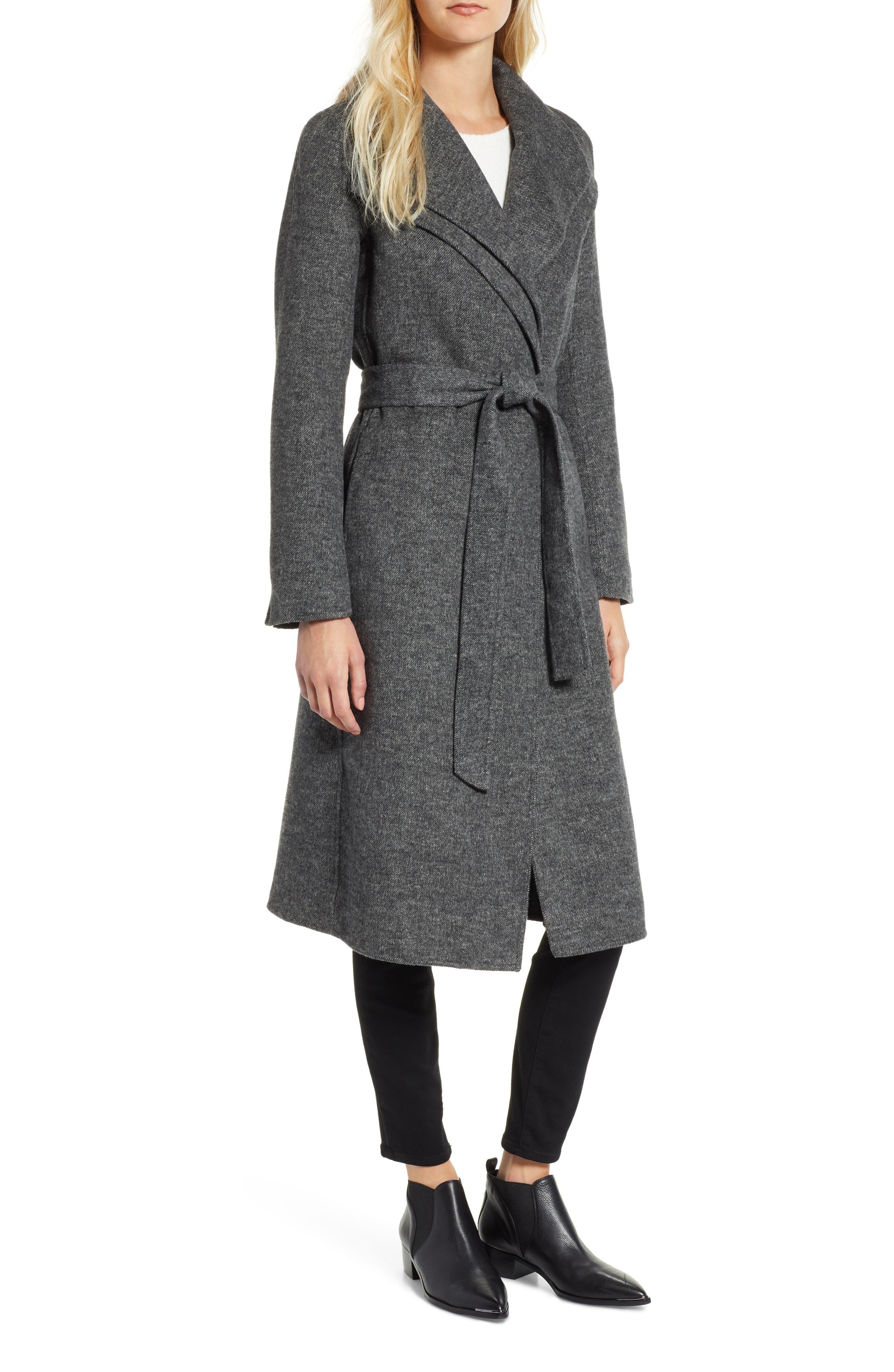 Elliot Wool Blend Wrap Coat,                         Main,                         color, 022