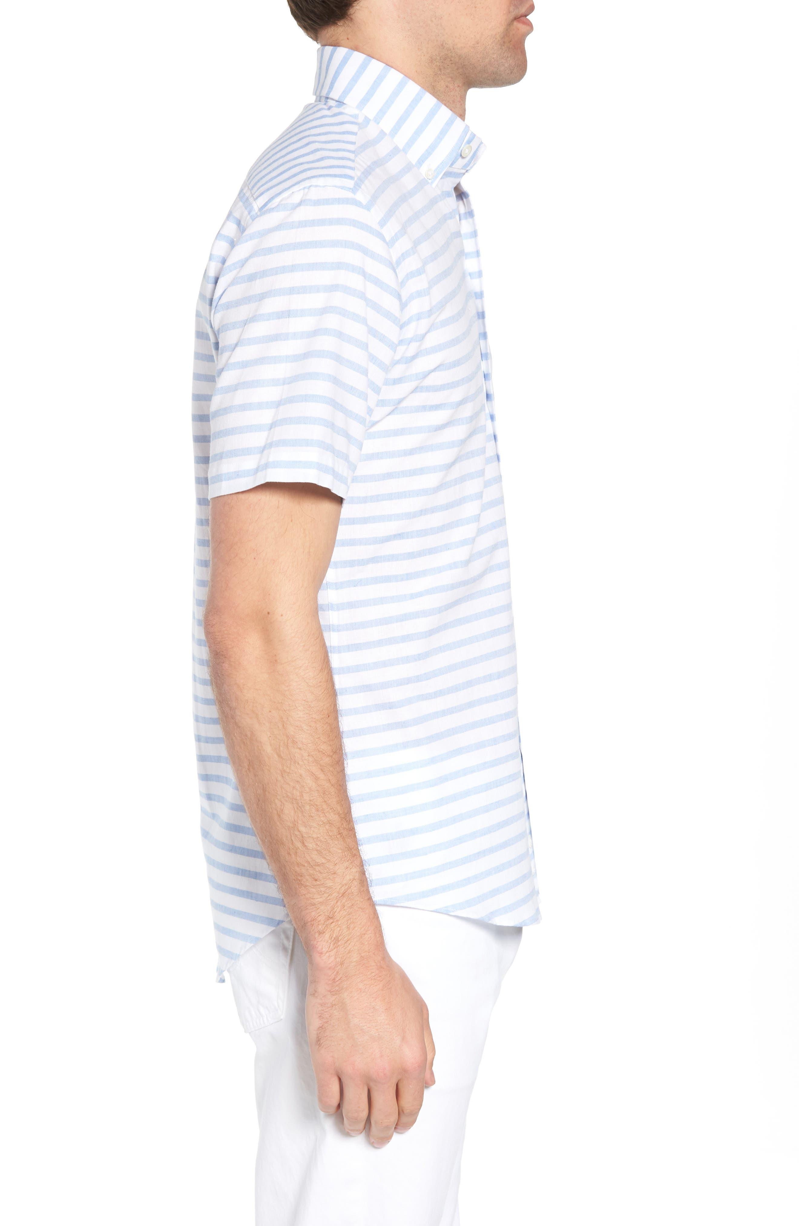 Gunnin Stripe Slim Fit Cotton & Linen Sport Shirt,                             Alternate thumbnail 3, color,                             400