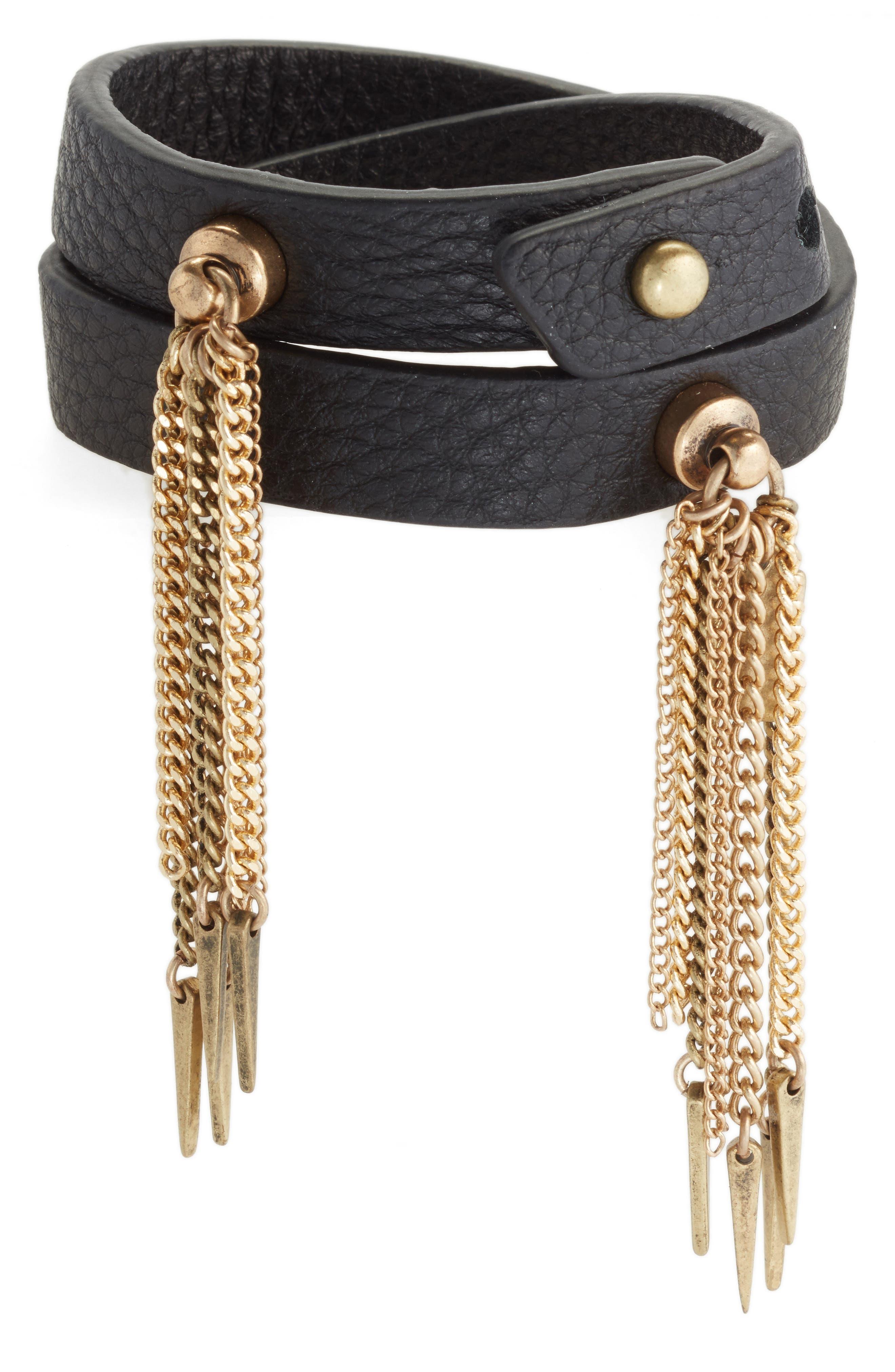 Luna Warrior Leather Wrap Bracelet,                             Main thumbnail 2, color,