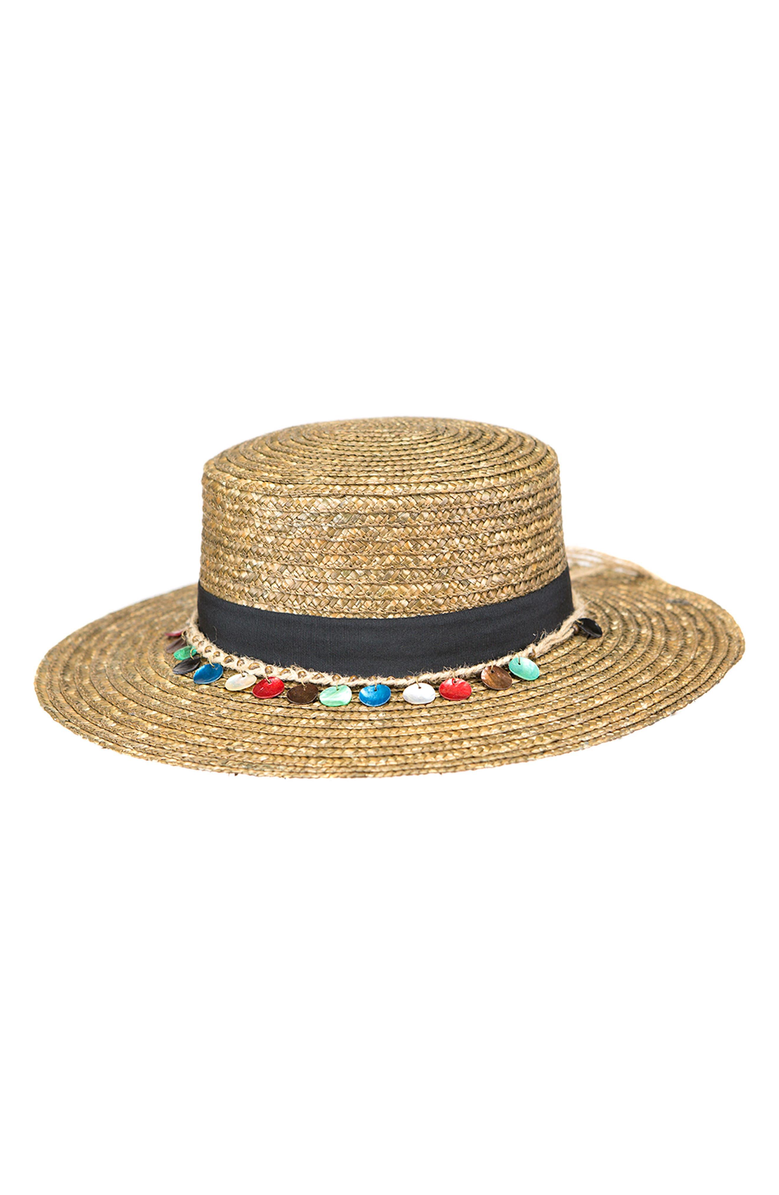 Clau Straw Resort Hat,                             Main thumbnail 1, color,                             BROWN