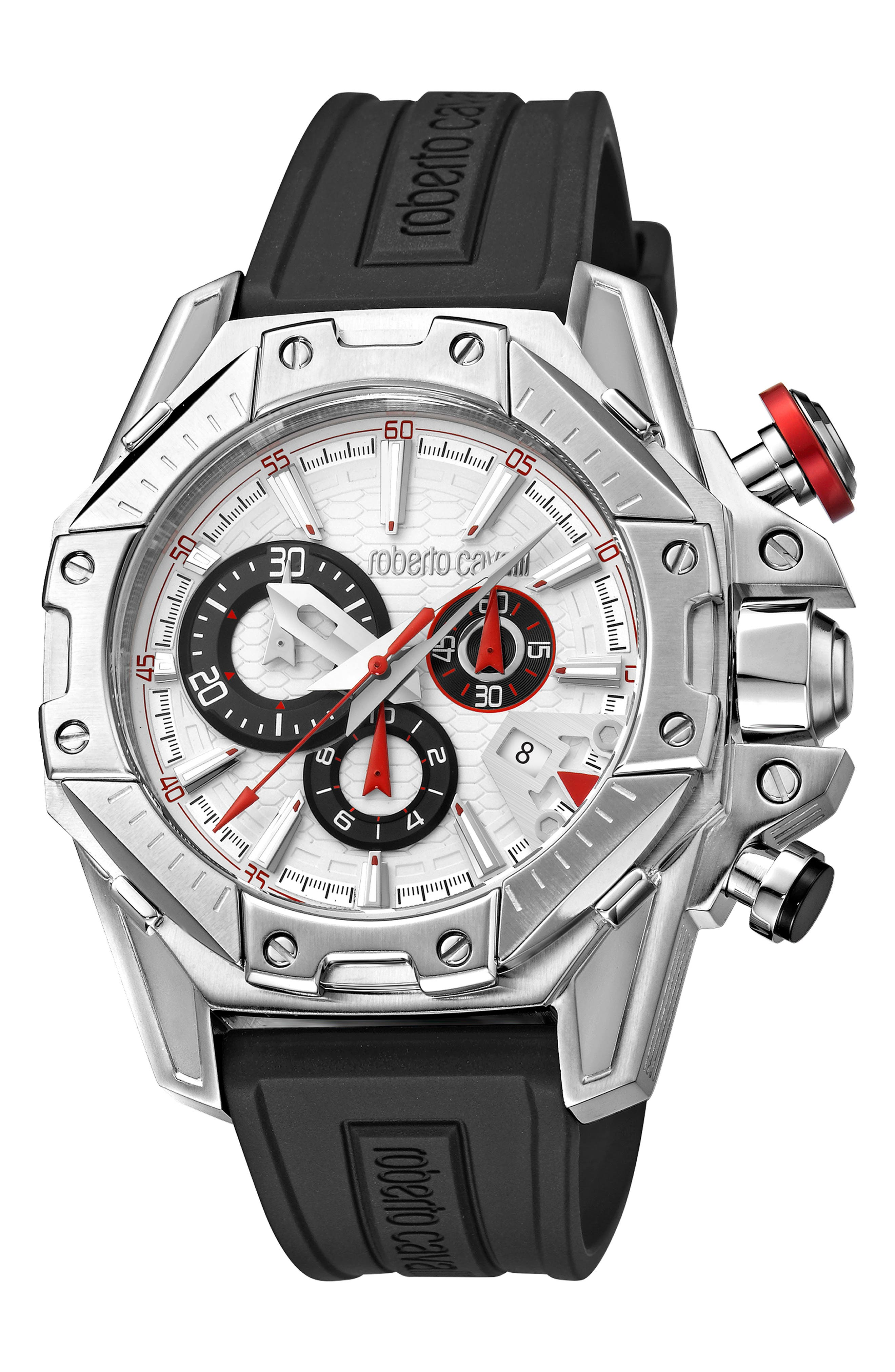 ROBERTO CAVALLI BY FRANCK MULLER Viper Chronograph 44Mm Rubber Strap Watch in Black