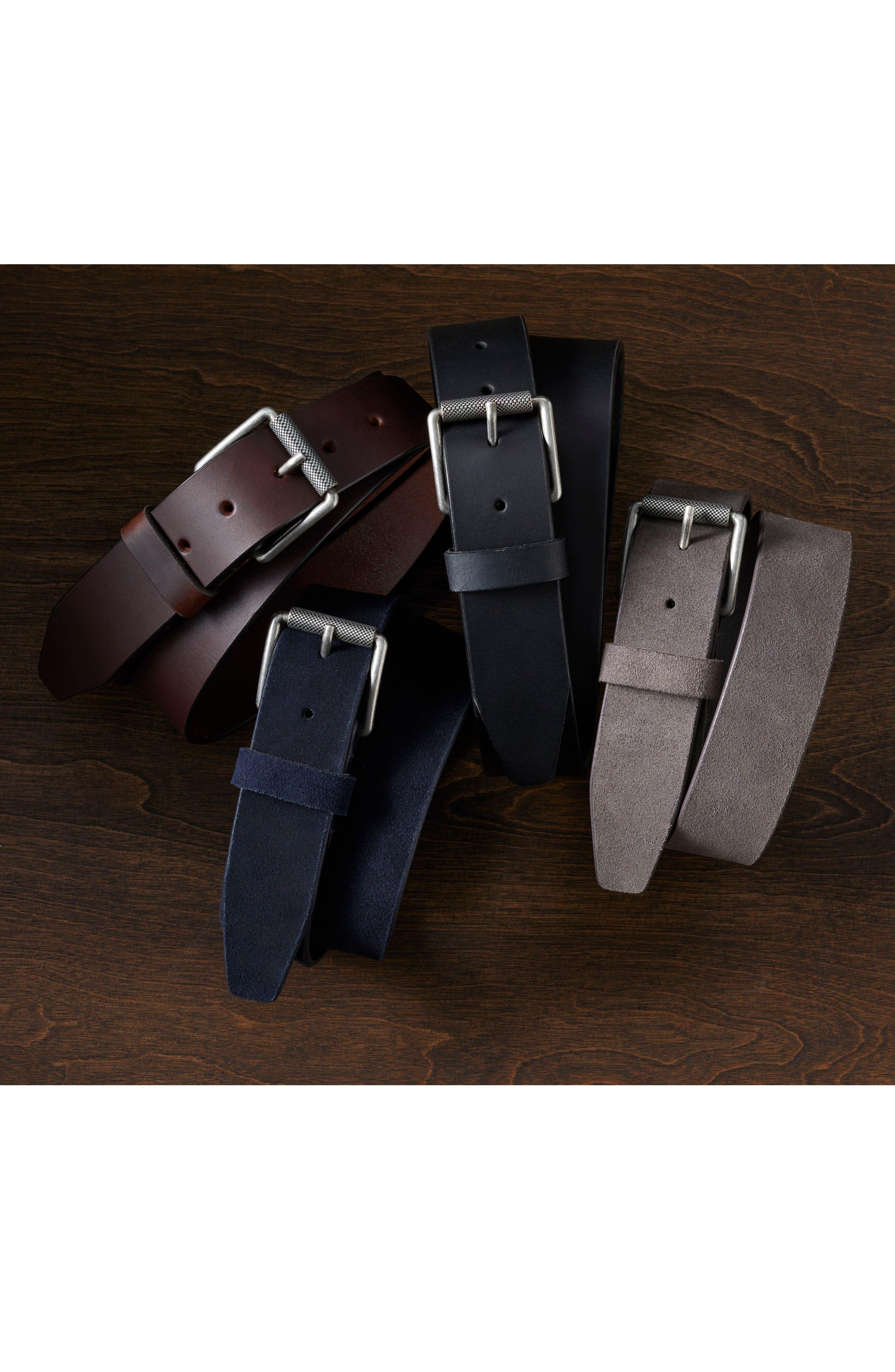 Roller Buckle Leather Belt,                             Alternate thumbnail 3, color,                             211