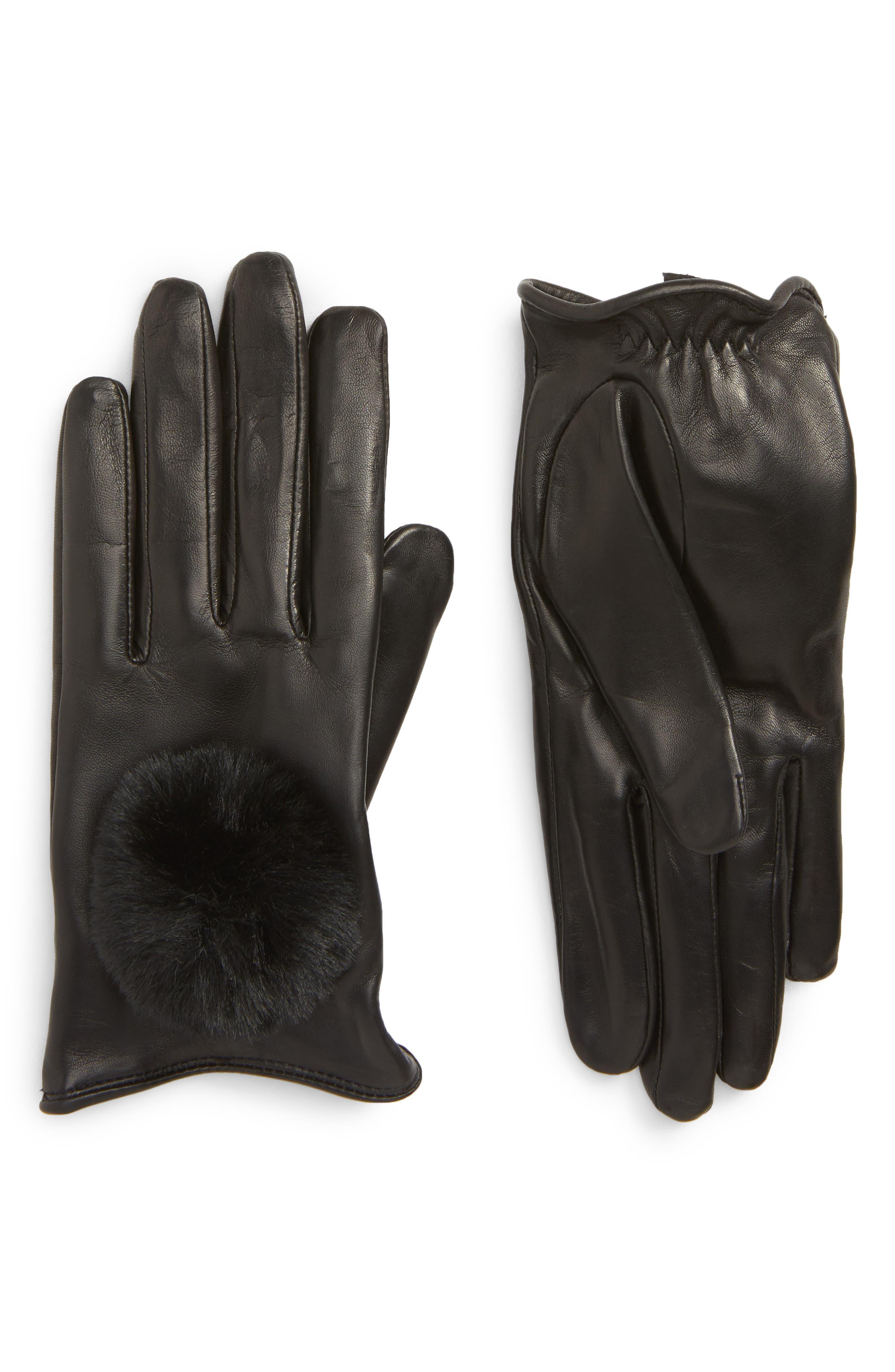 Faux Fur Pompom Lambskin Leather Gloves,                             Main thumbnail 1, color,                             BLACK COMBO