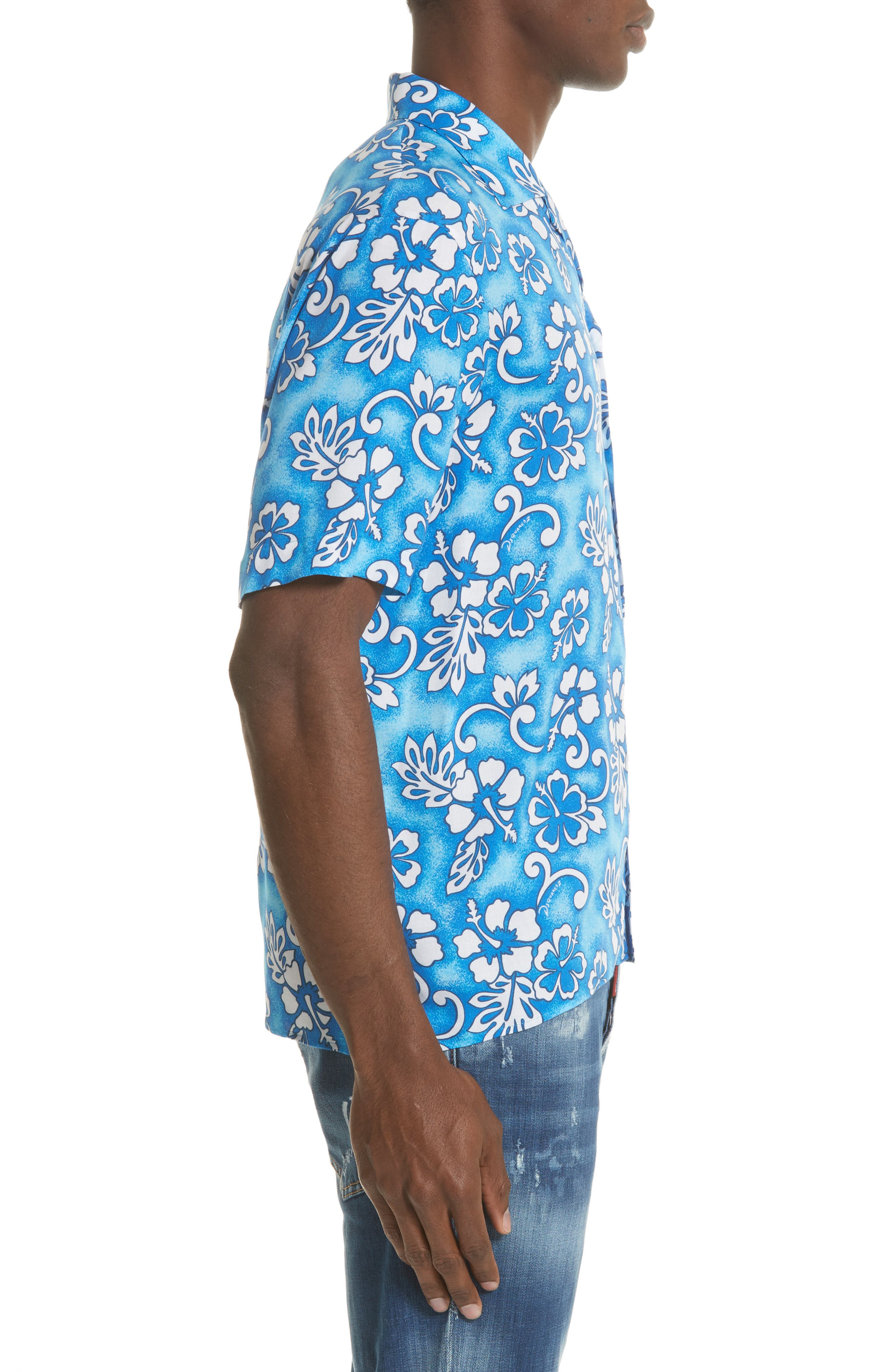 Floral Print Camp Shirt,                             Alternate thumbnail 3, color,                             400