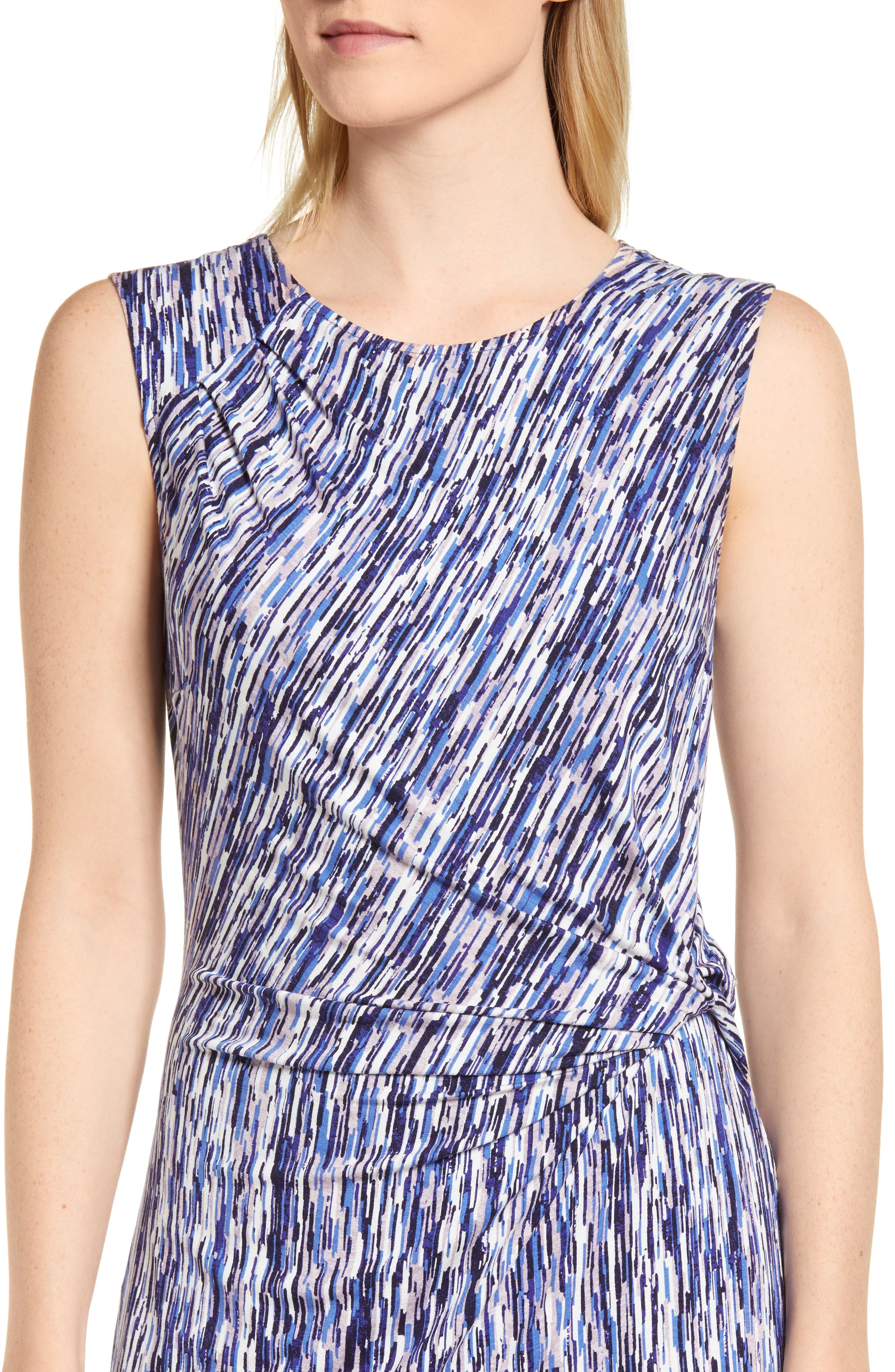 Sapphire Stripe Side Twist Dress,                             Alternate thumbnail 4, color,                             490