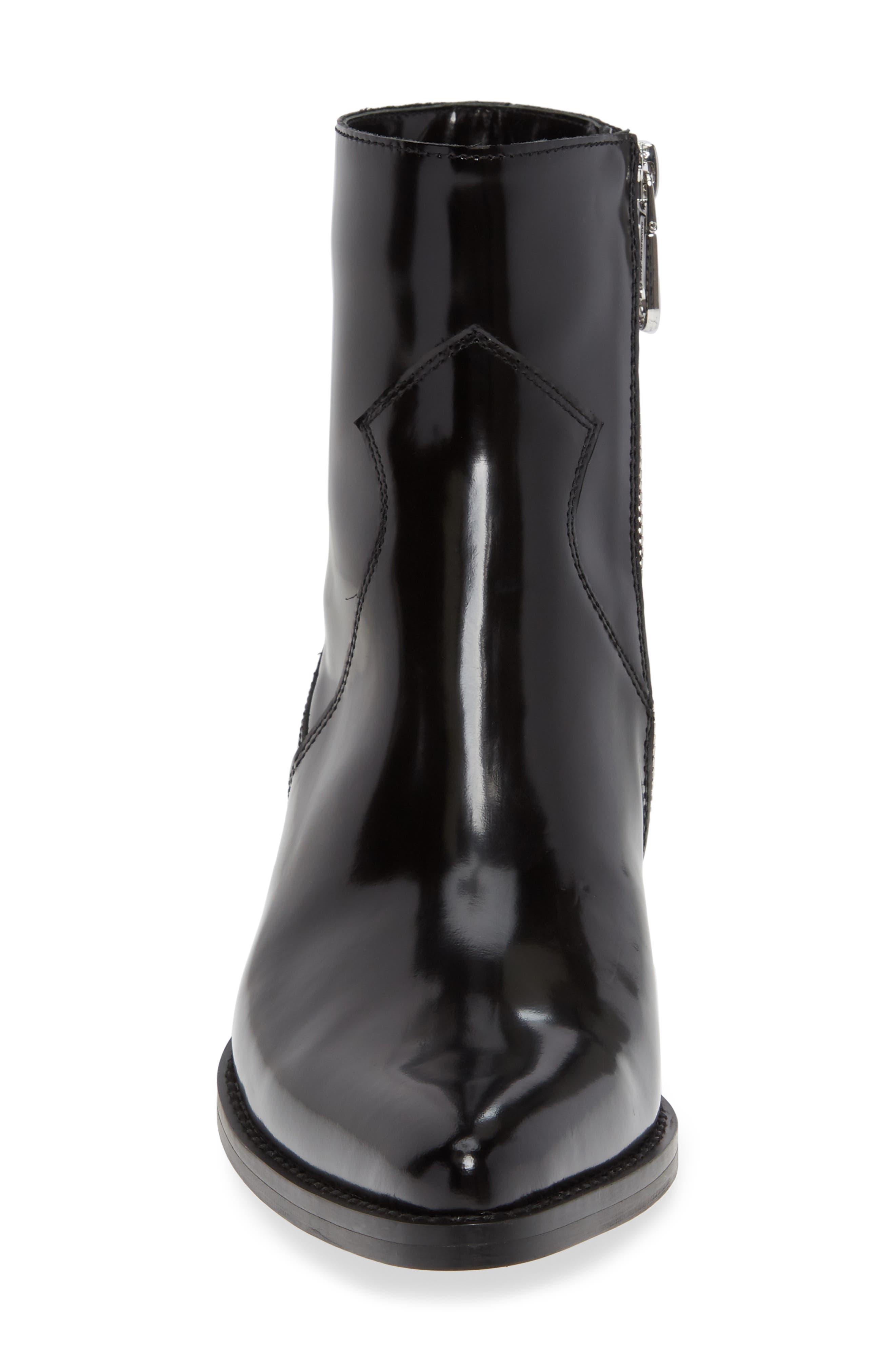 Calvin Klein Adrianna Bootie,                             Alternate thumbnail 4, color,                             BLACK LEATHER
