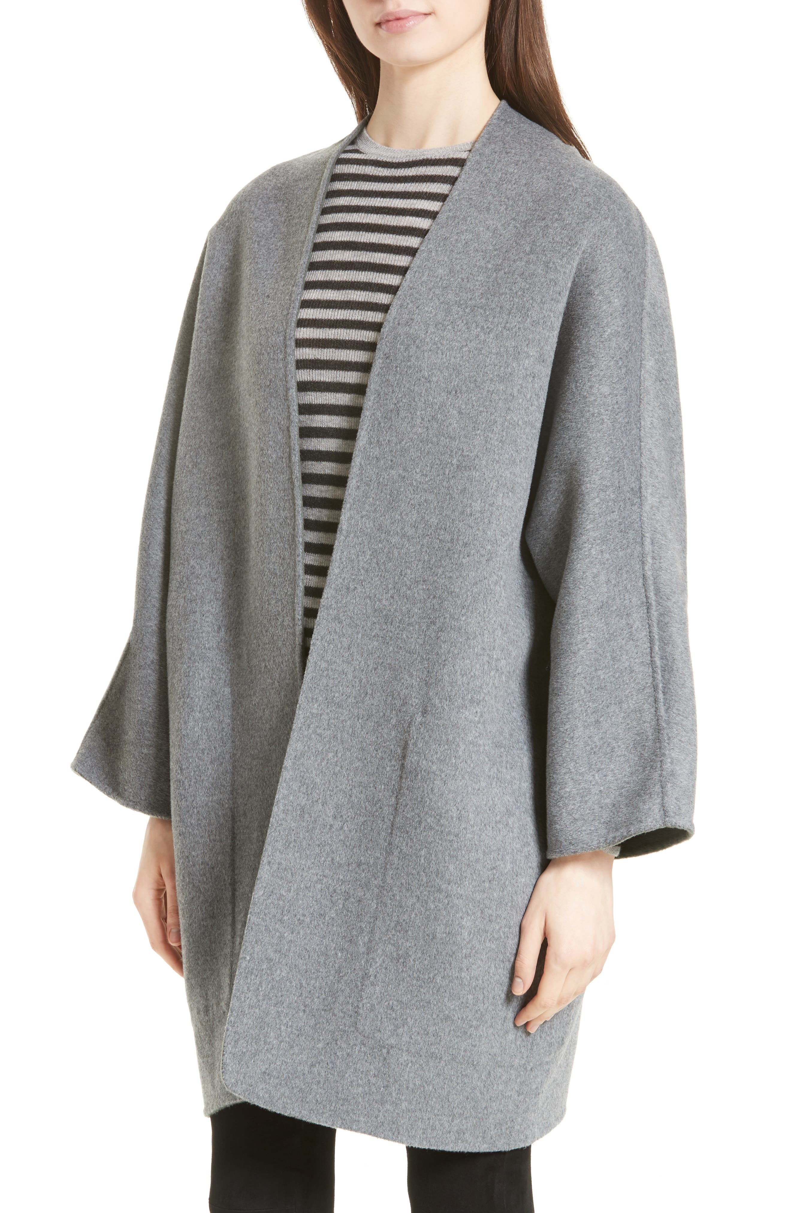 Reversible Wool & Cashmere Clutch Coat,                             Alternate thumbnail 4, color,